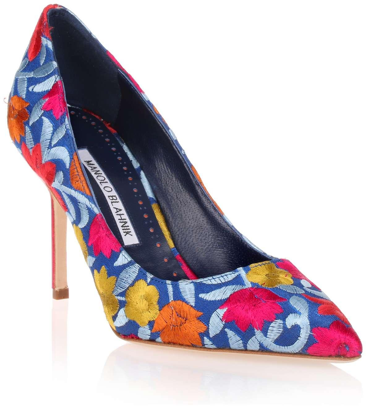 f355788e056f ... canada lyst manolo blahnik bb flower embroidered pump in blue a649b  91e69