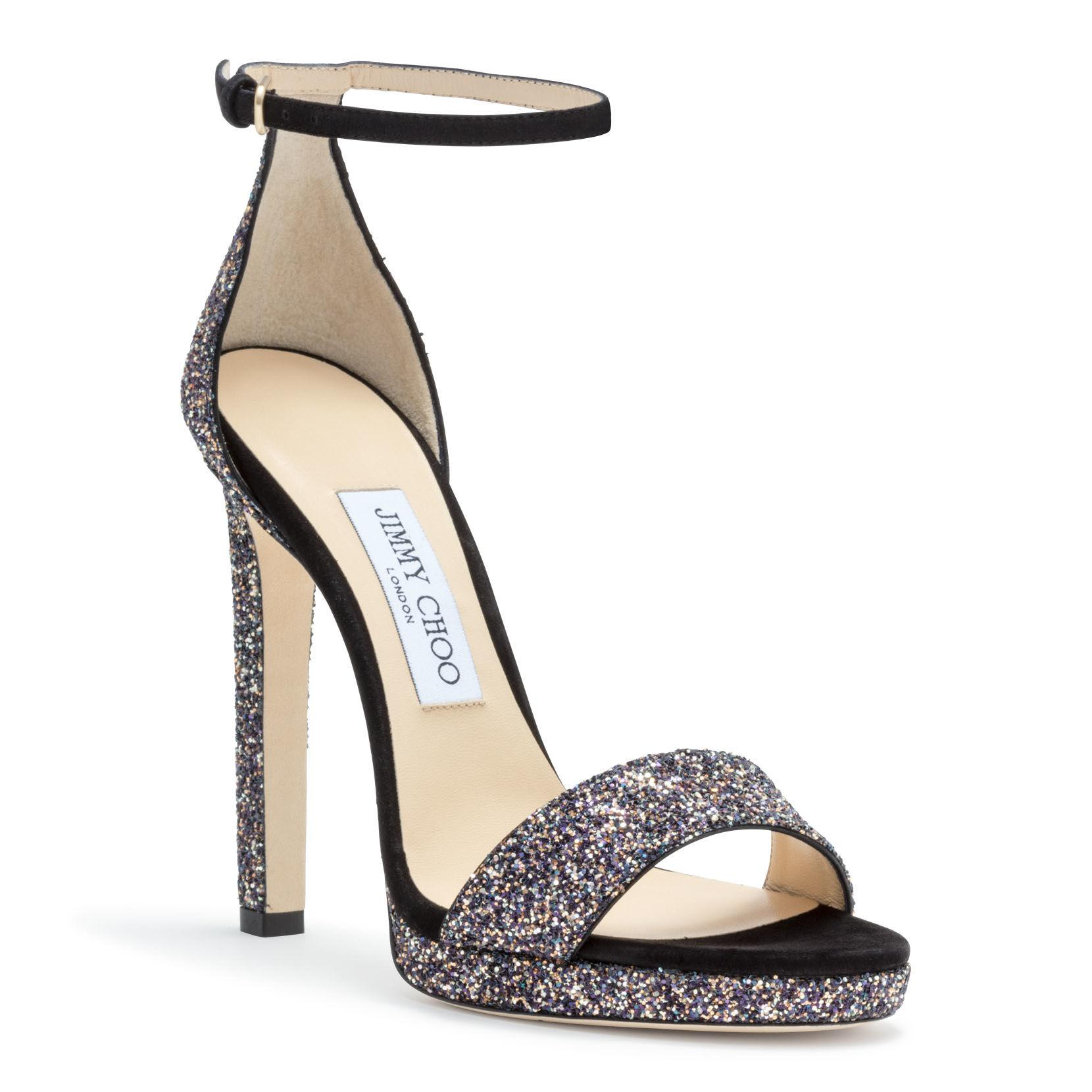ae6c4064540 Jimmy Choo - Metallic Misty 120 Glittered Leather And Suede Platform Sandals  - Lyst. View fullscreen