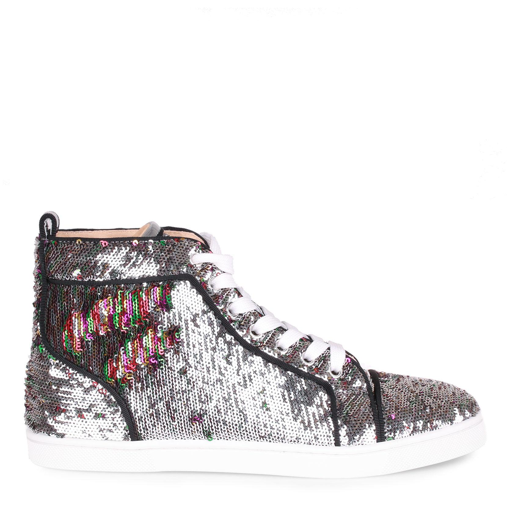 dc226935d069 Christian Louboutin - Metallic Bip Bip Silver Sequin Sneaker - Lyst. View  fullscreen