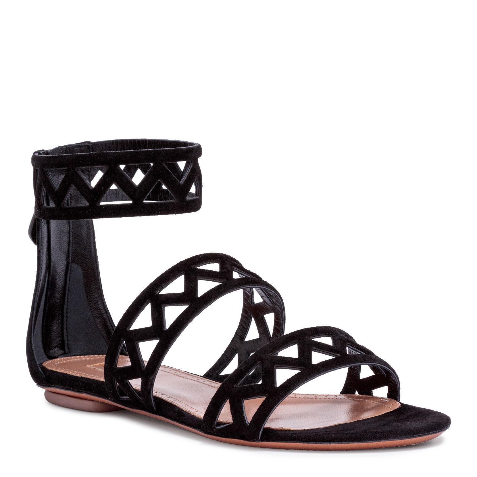 d6478133936814 Alaïa Black Suede Laser-cut Flat Sandals in Black - Save 50% - Lyst