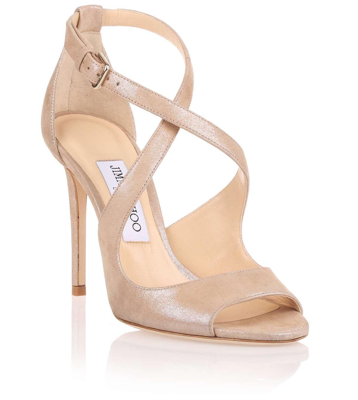 3e322d077b4 Lyst - Jimmy Choo Emily 100 Beige Shimmer Suede Sandal Us in Natural