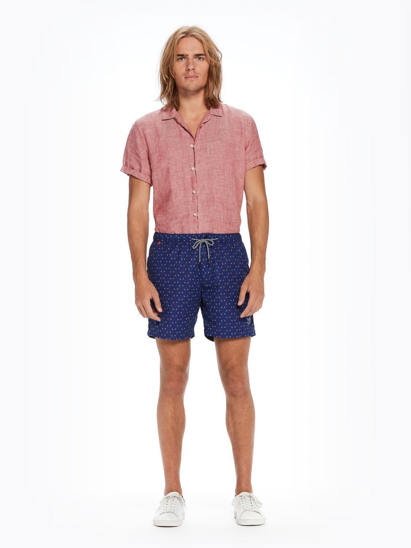 6e3189be7f Scotch & Soda Mini-motif Swim Shorts Medium Length in Blue for Men ...