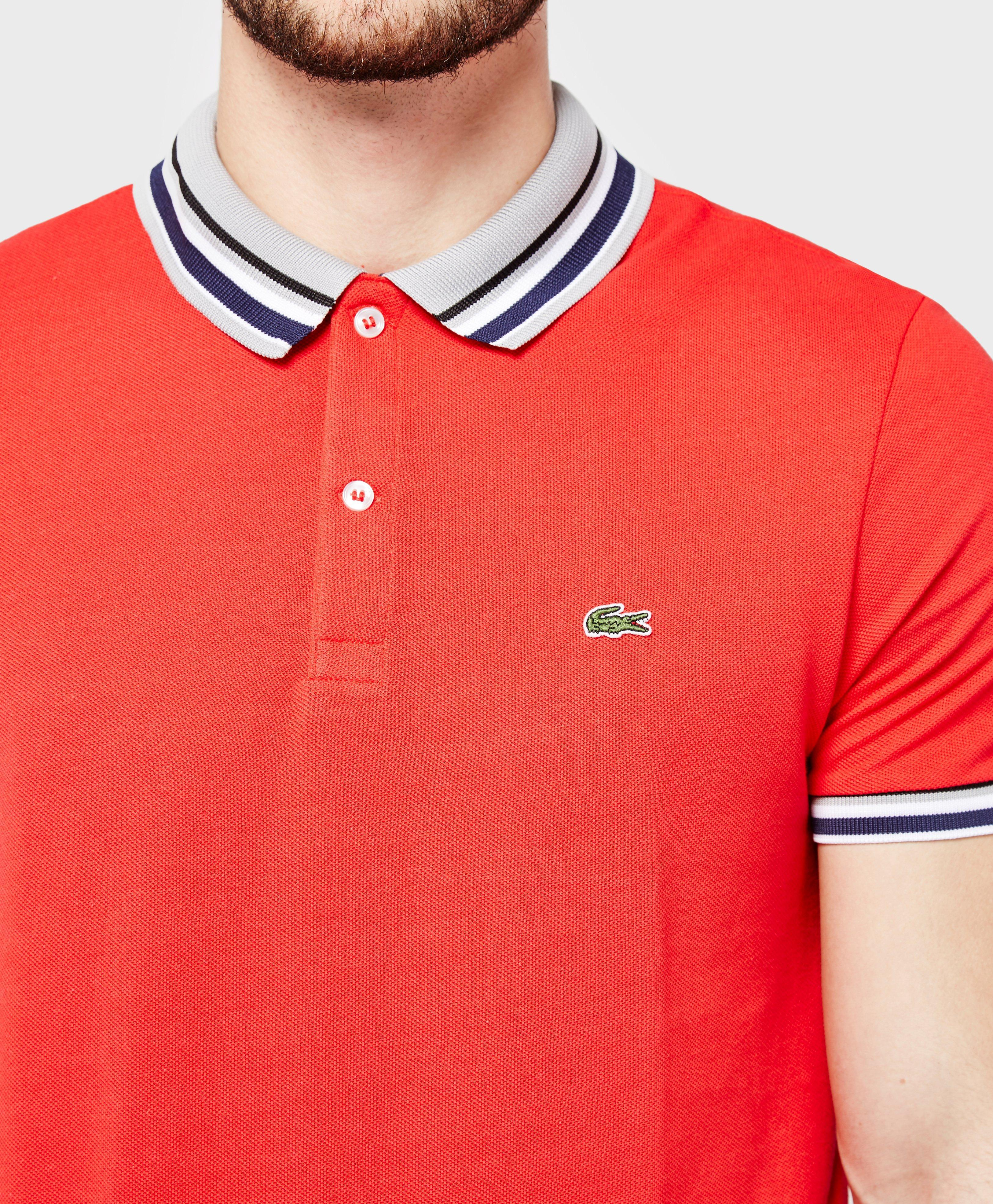 Lyst lacoste pique polo shirt in red for men for Lacoste stripe pique polo shirt
