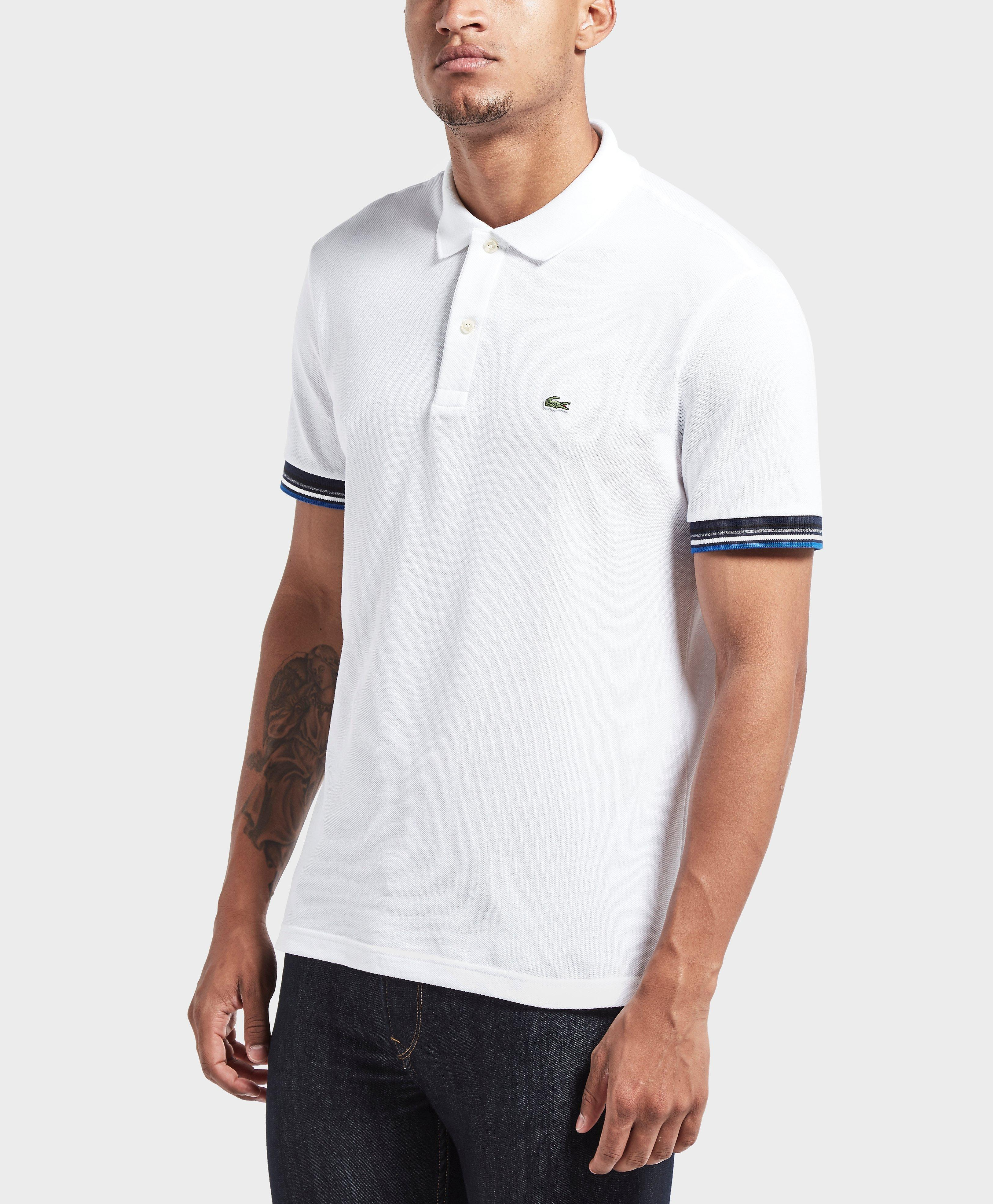 Lyst lacoste ribbed short sleeve polo shirt in white for men for Short sleeve lacoste shirt