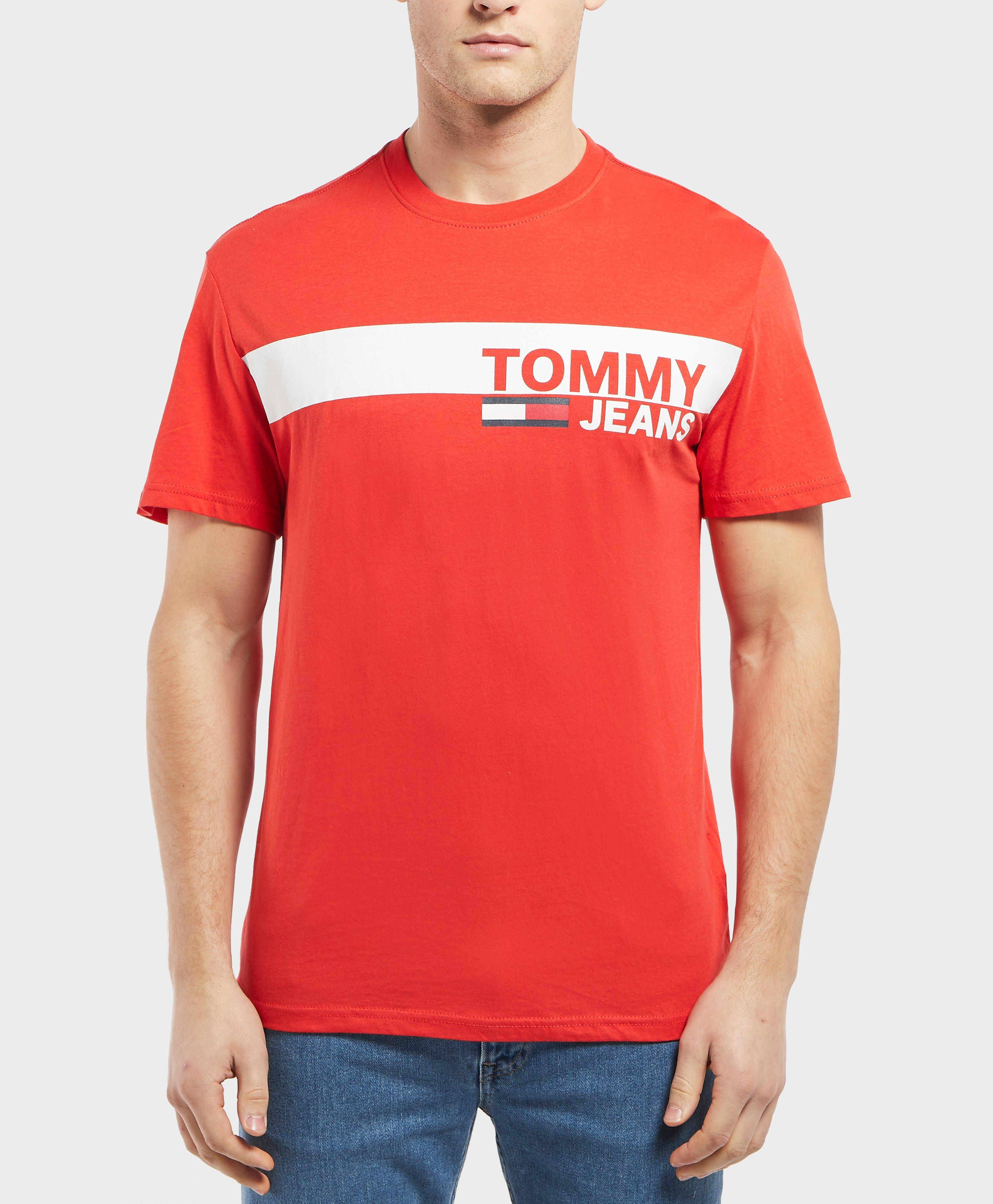 a7d03c38 Tommy Hilfiger Panel Logo Short Sleeve T-shirt in Red for Men - Lyst
