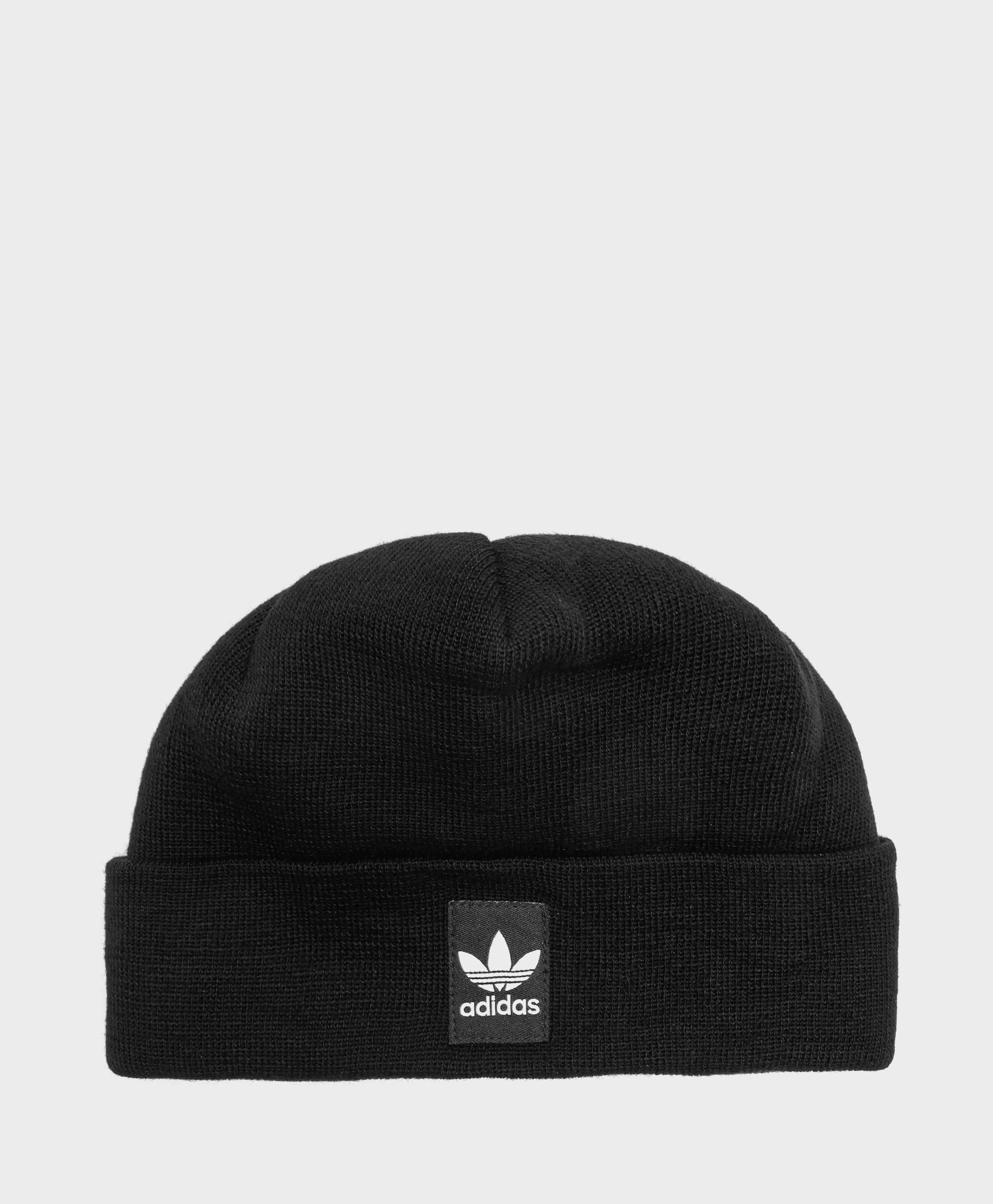 64a4342a049 Lyst - adidas Originals Ribbed Logo Beanie in Black for Men