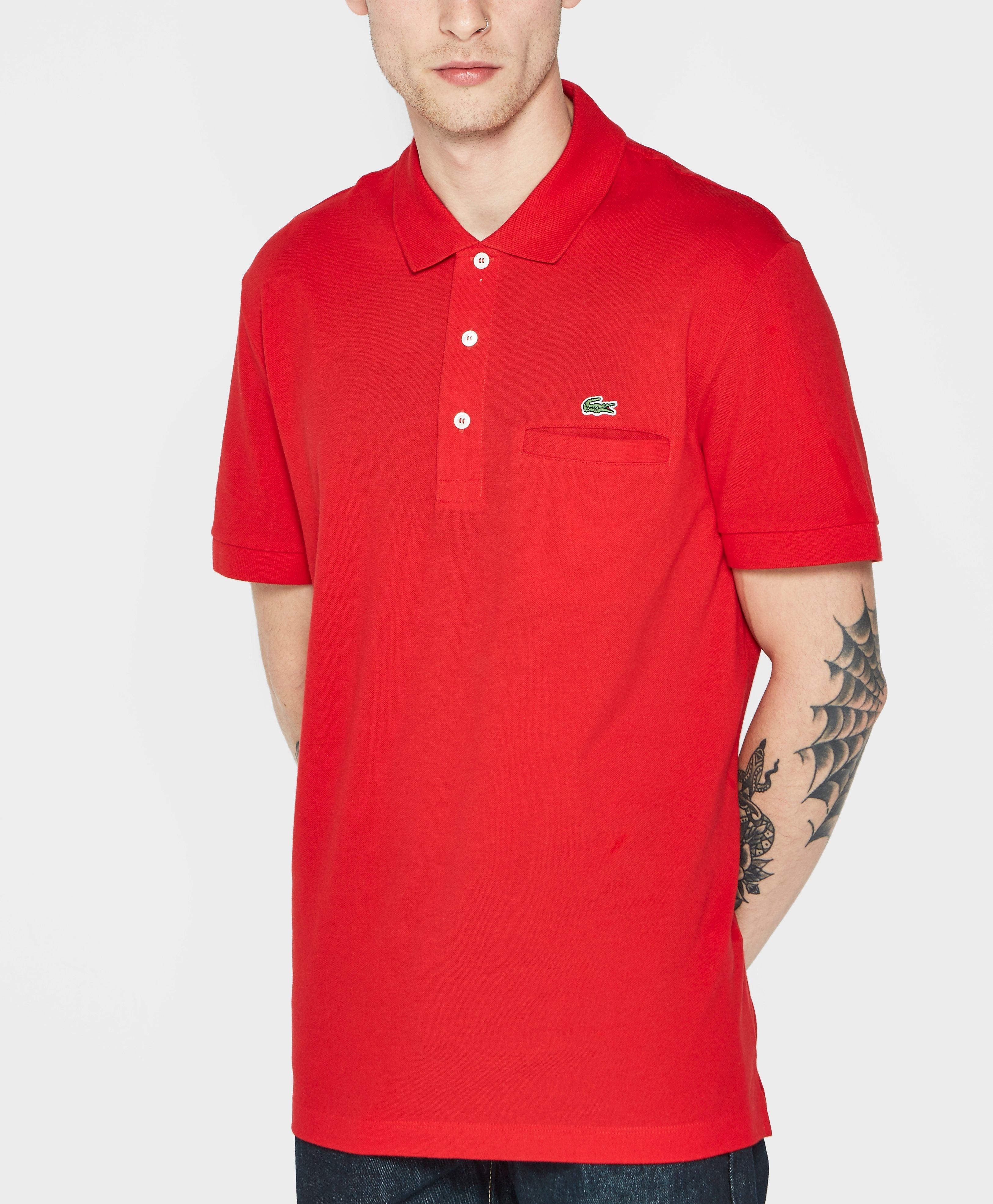 lacoste pocket pique polo shirt in red for men lyst. Black Bedroom Furniture Sets. Home Design Ideas