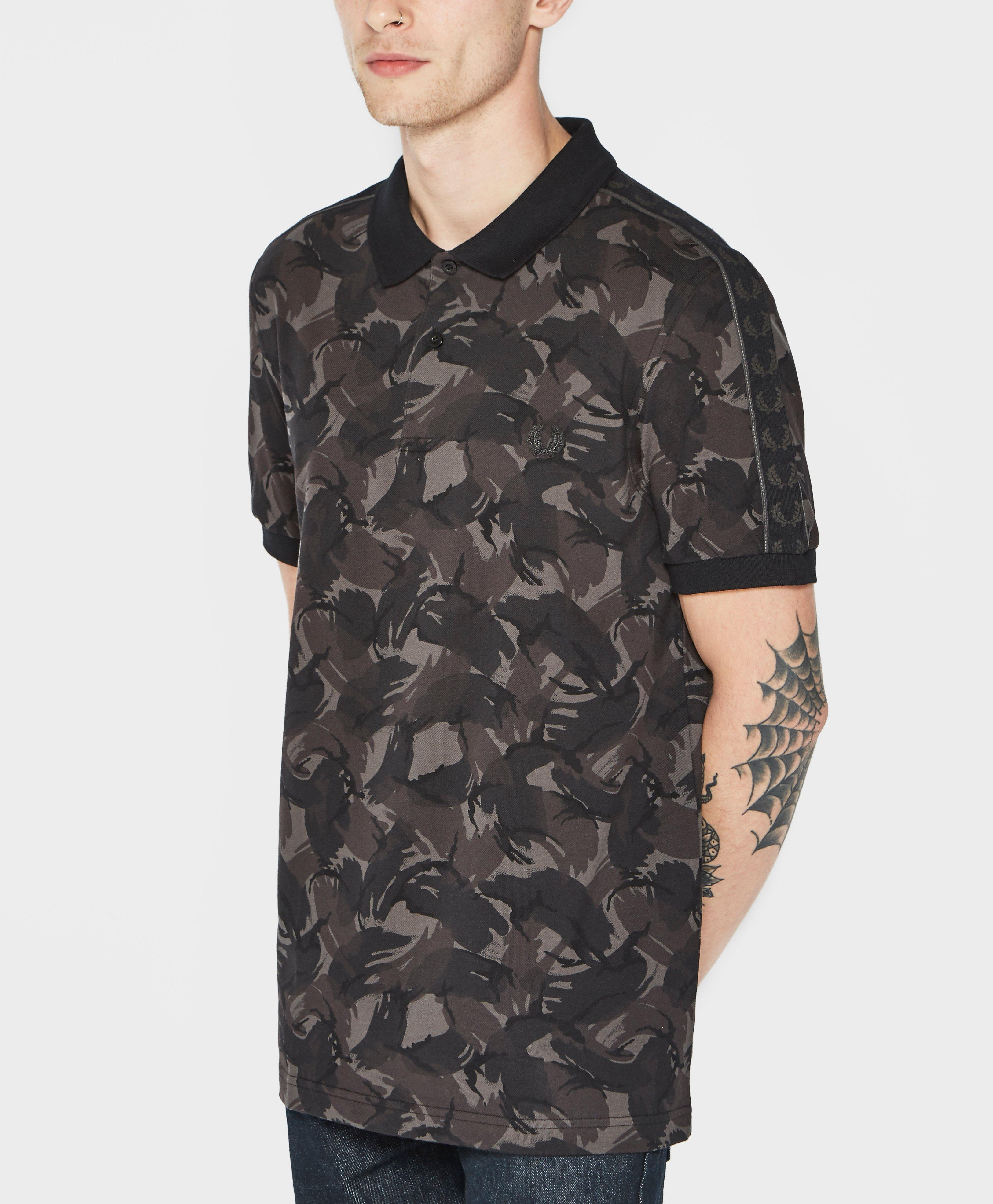 Fred perry camo print polo shirt for men lyst for Camo polo shirts for men