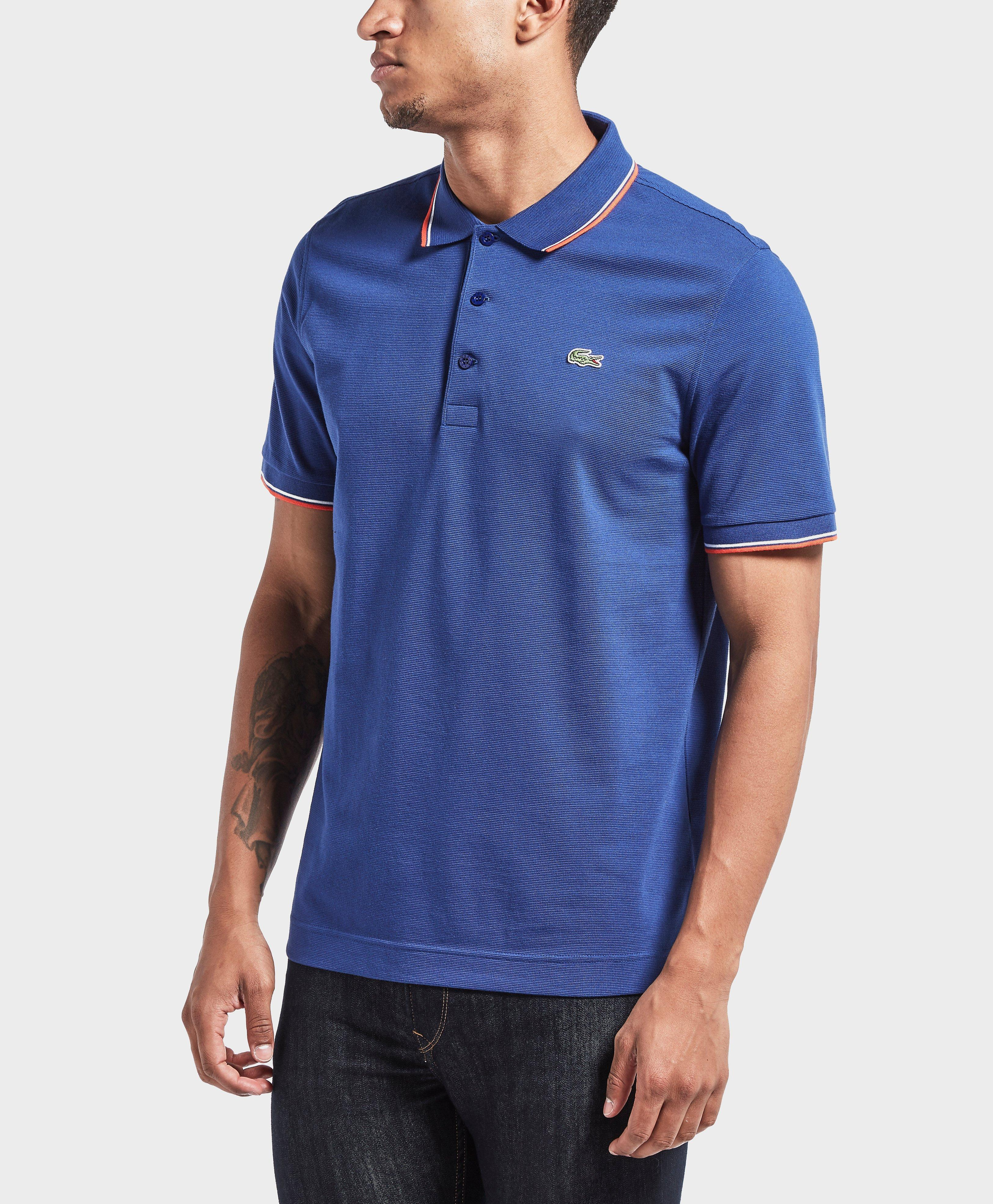 Lacoste tipped short sleeve polo shirt in blue for men lyst for Short sleeve lacoste shirt