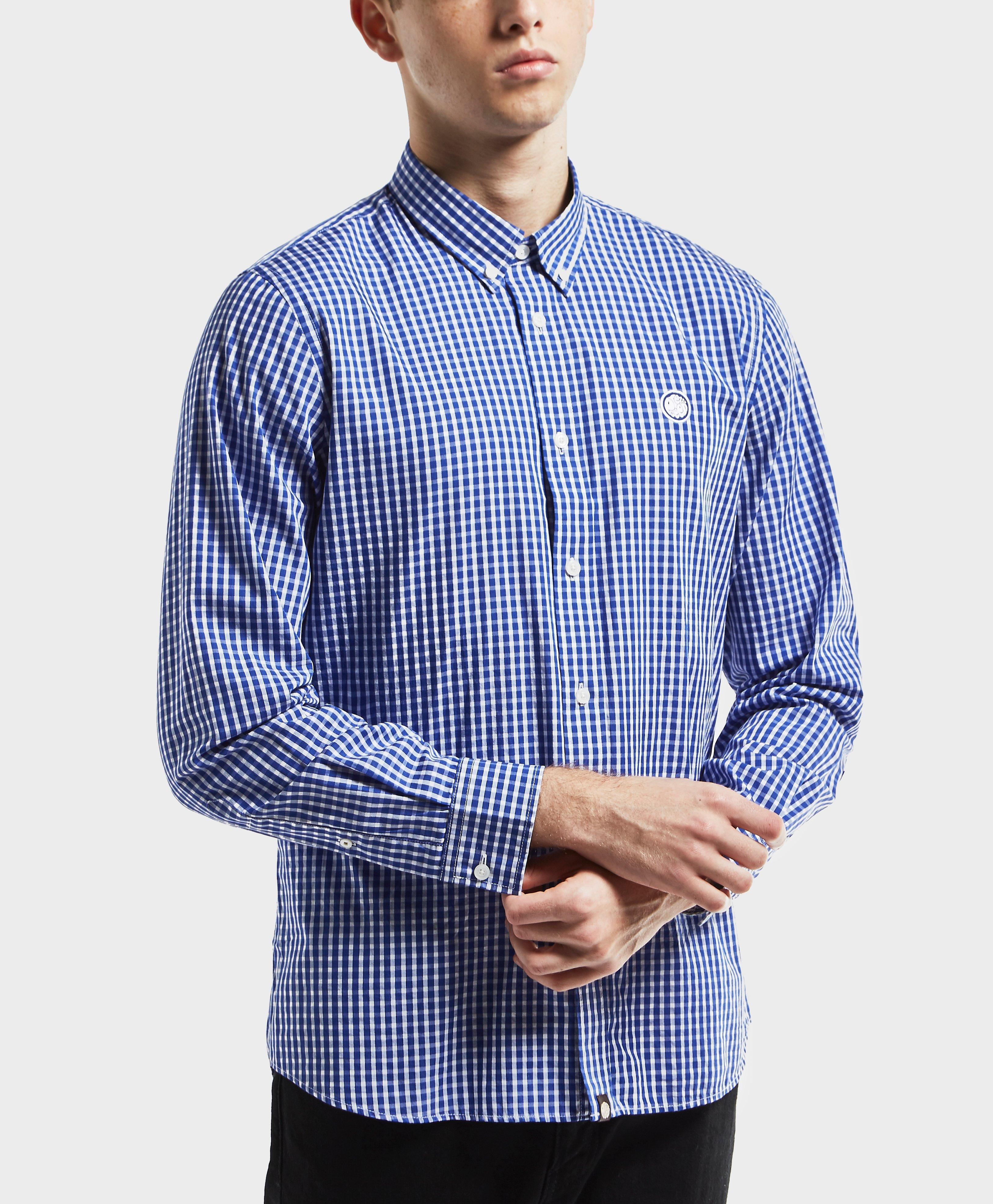Lyst pretty green gingham long sleeve shirt in blue for men for Mens green gingham dress shirt