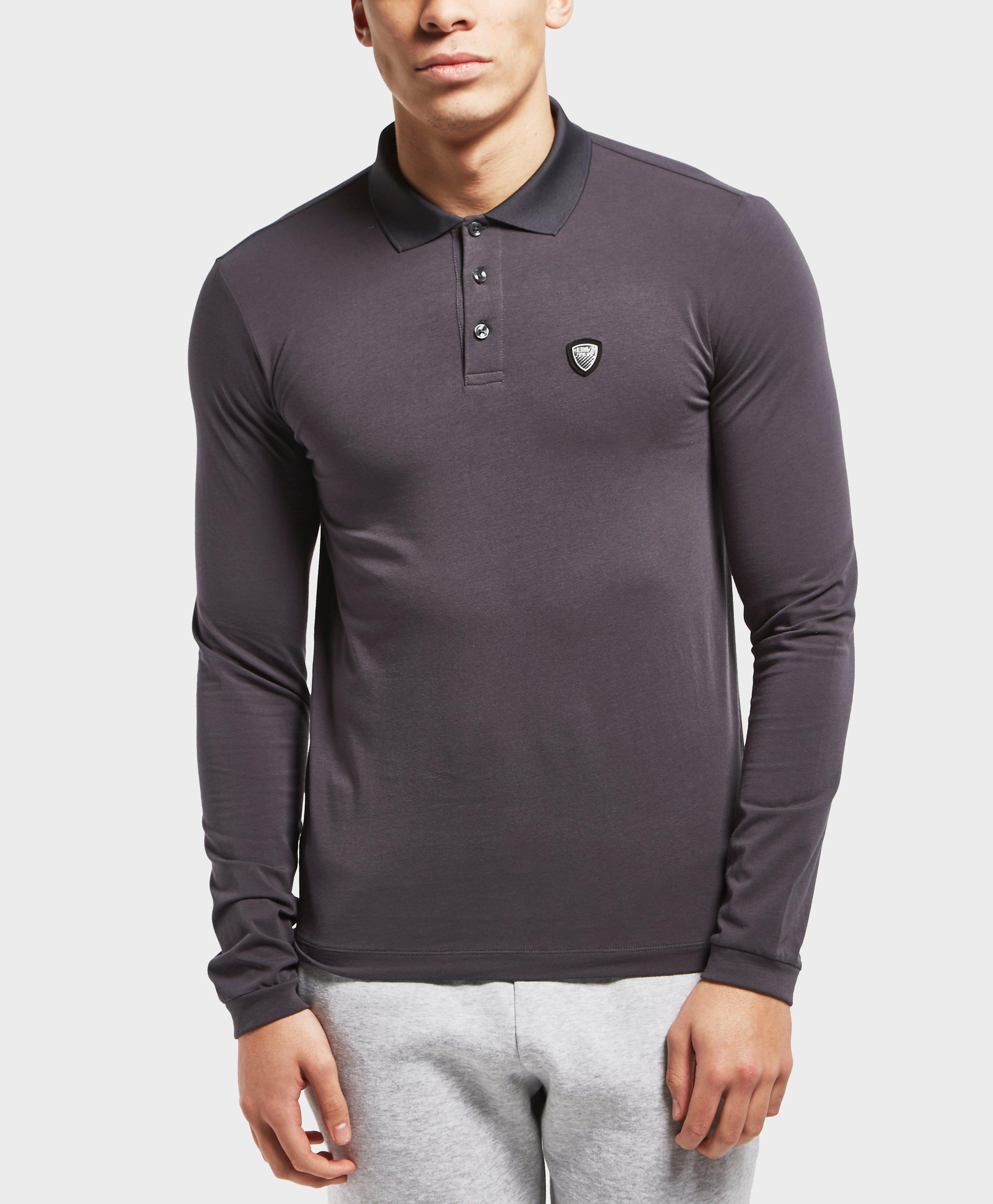 54b788a1695 Lyst - Ea7 Long Sleeve Shield Polo Shirt in Gray for Men