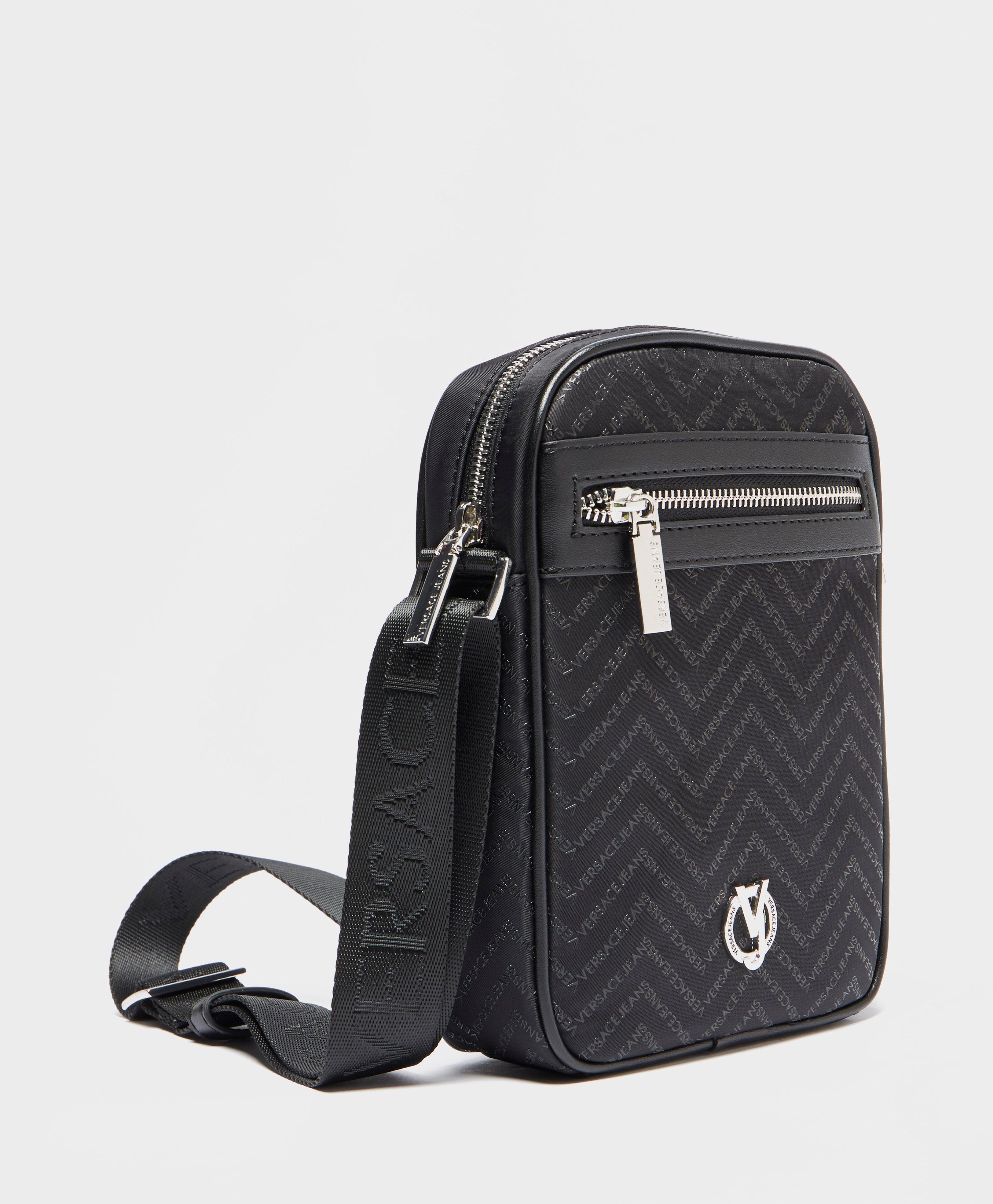 65ca210c923 Versace Jeans Chevron Logo Print Small Item Bag in Black for Men - Lyst