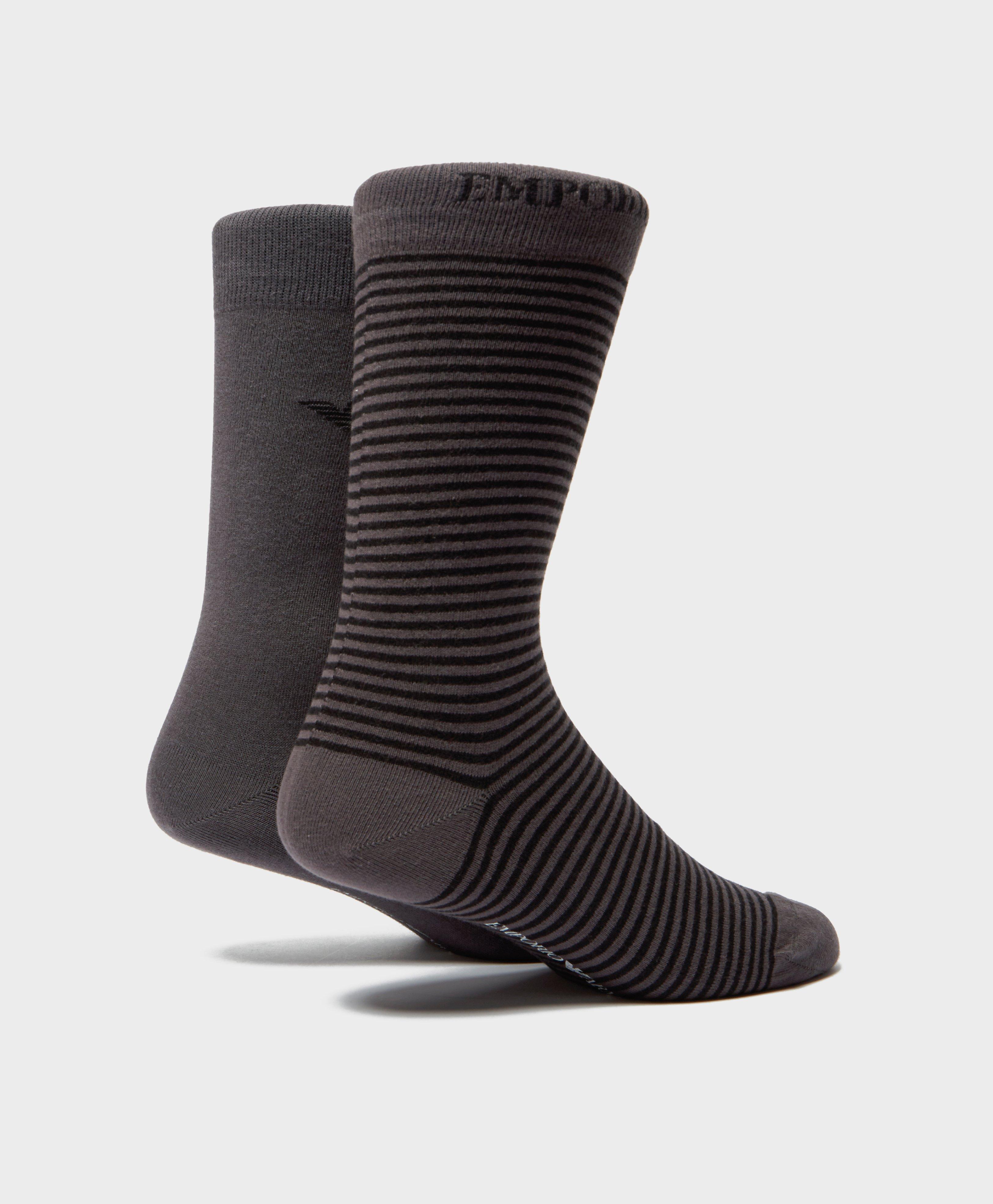 16e8883c130 Lyst - Emporio Armani 2-pack Stripe Socks in Black for Men