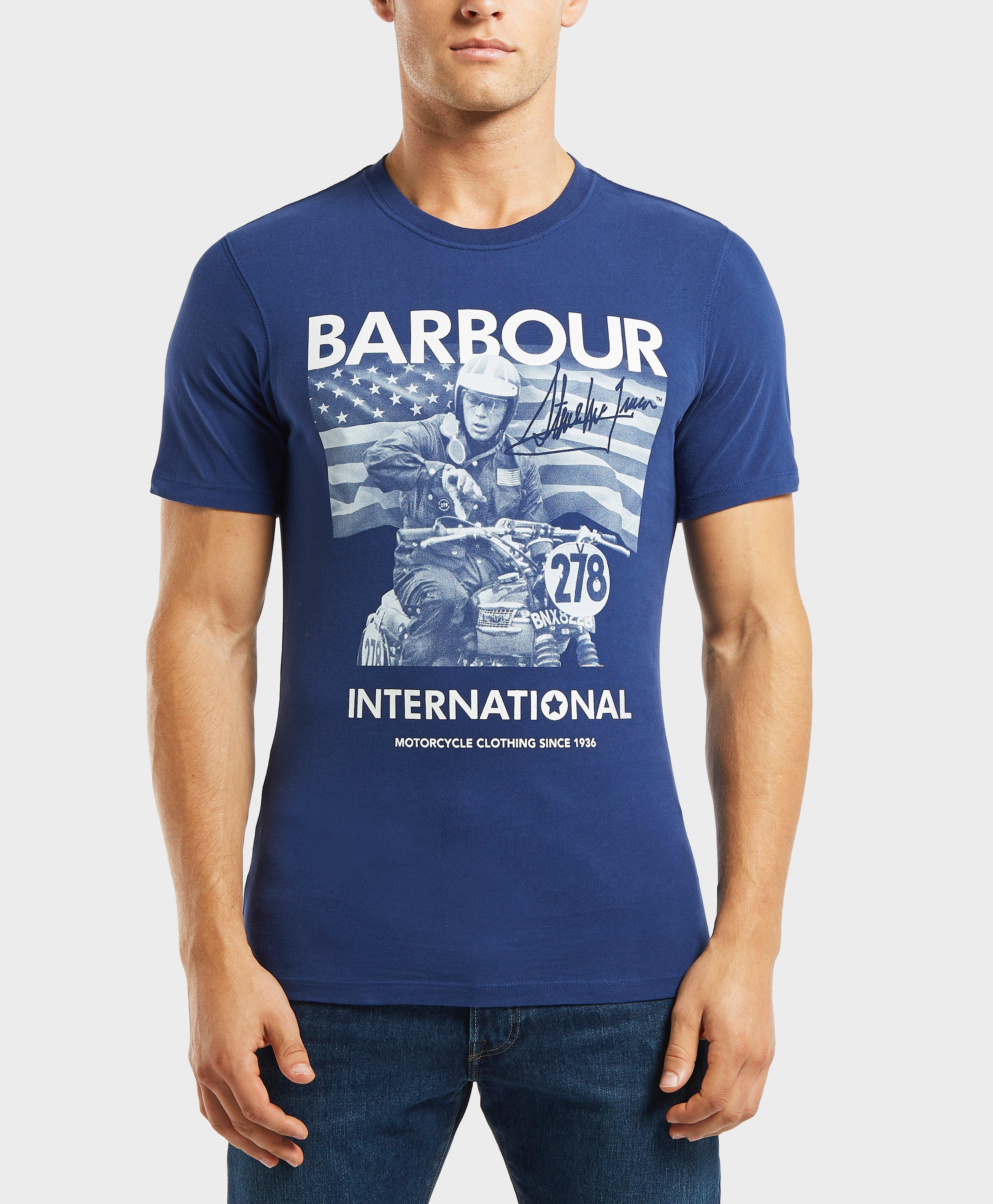 bc7b00f35 Barbour - Mens International X Steve Mcqueen Short Sleeve T-shirt Blue for  Men -. View fullscreen