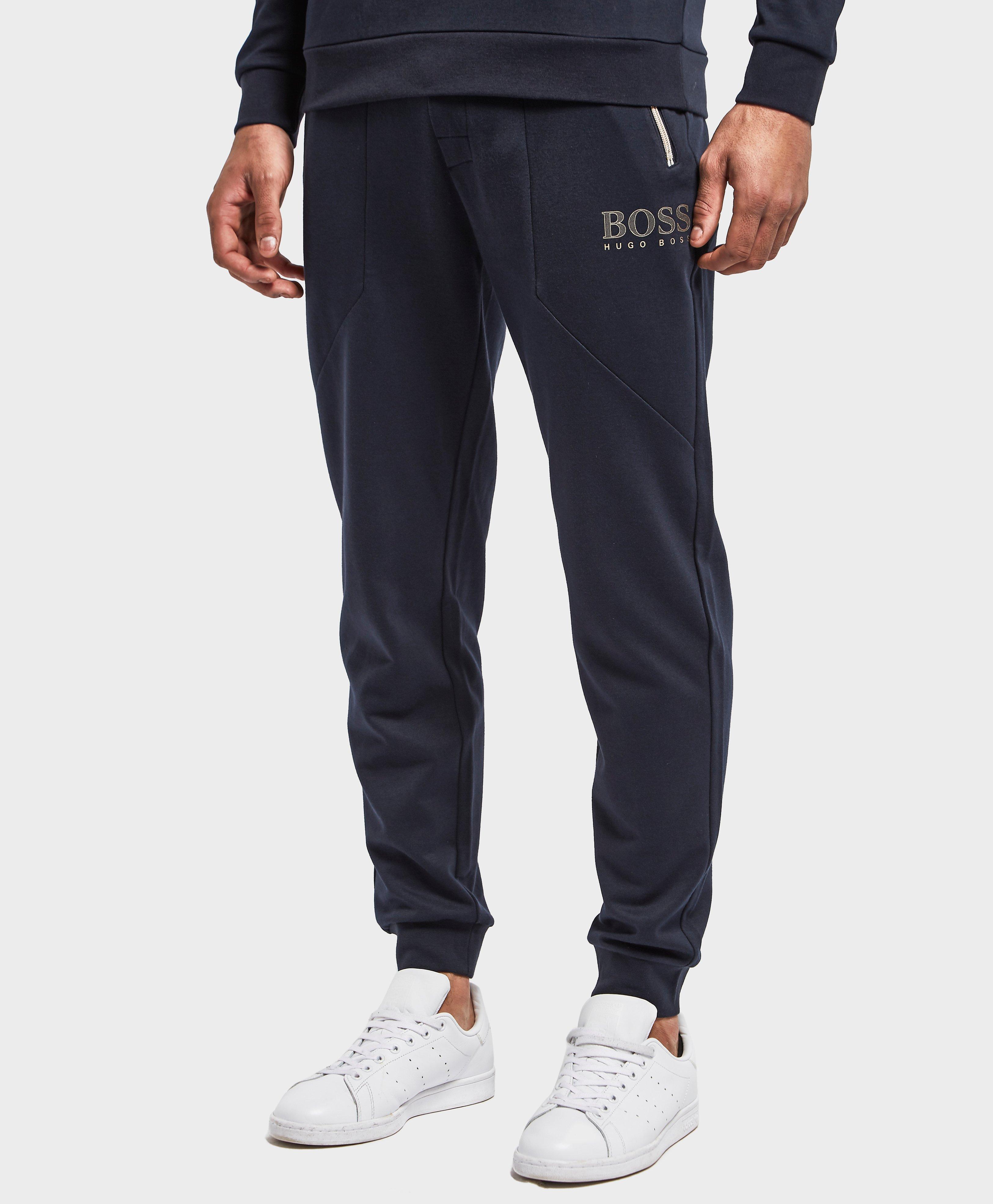 BOSS. Men's Blue Poly Pique Cuffed Track Pants