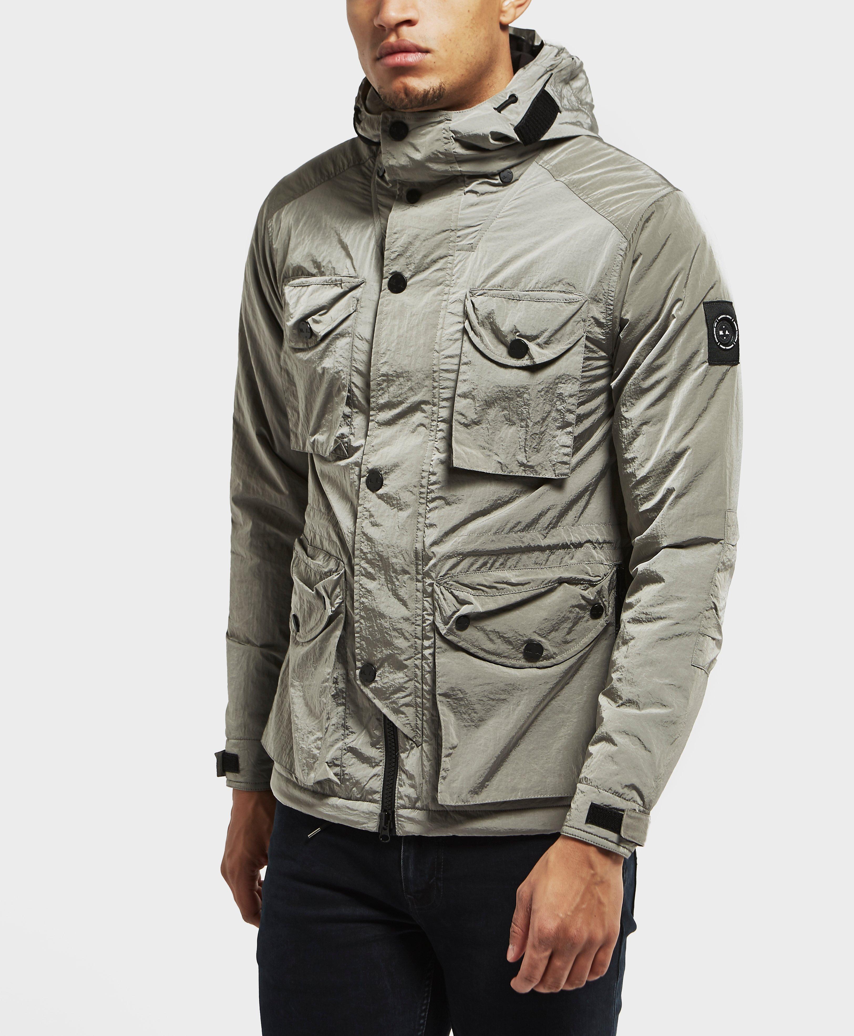 Fluid mens parka jacket military green