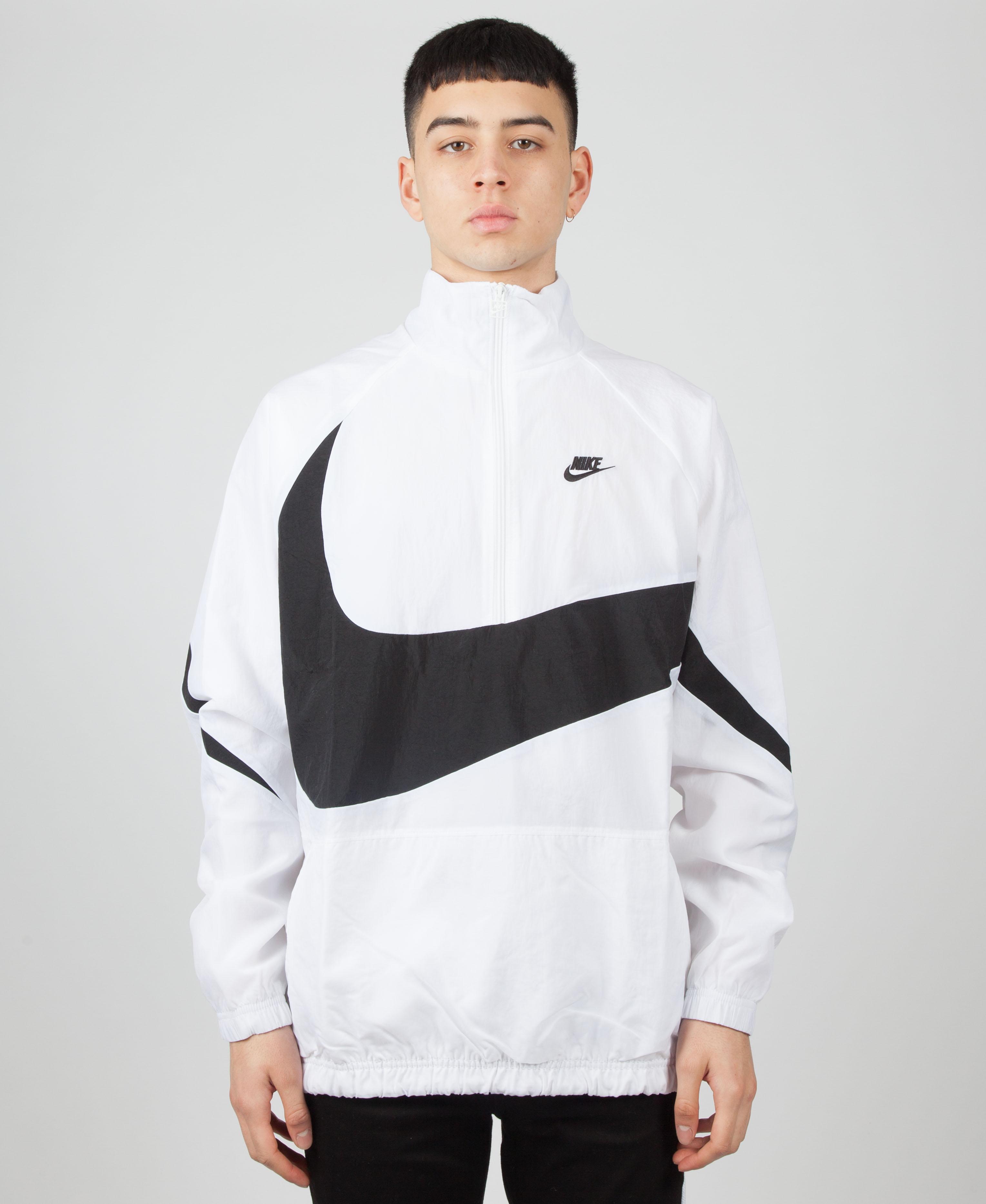 f576469d9baf Nike Vaporwave Packable Half Zip Jacket With Large Swoosh In White ...
