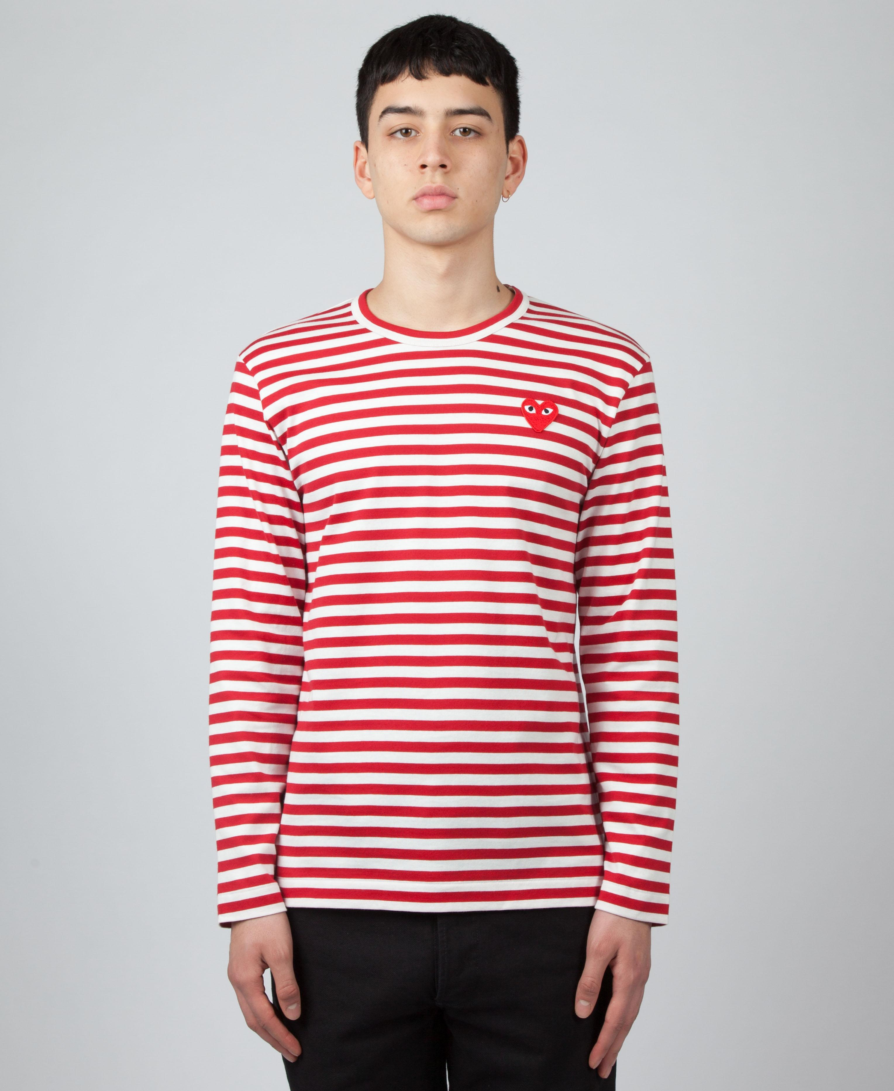 78748d840cb2 Play Comme des Garçons Striped Long Sleeve T-shirt in Red for Men - Lyst