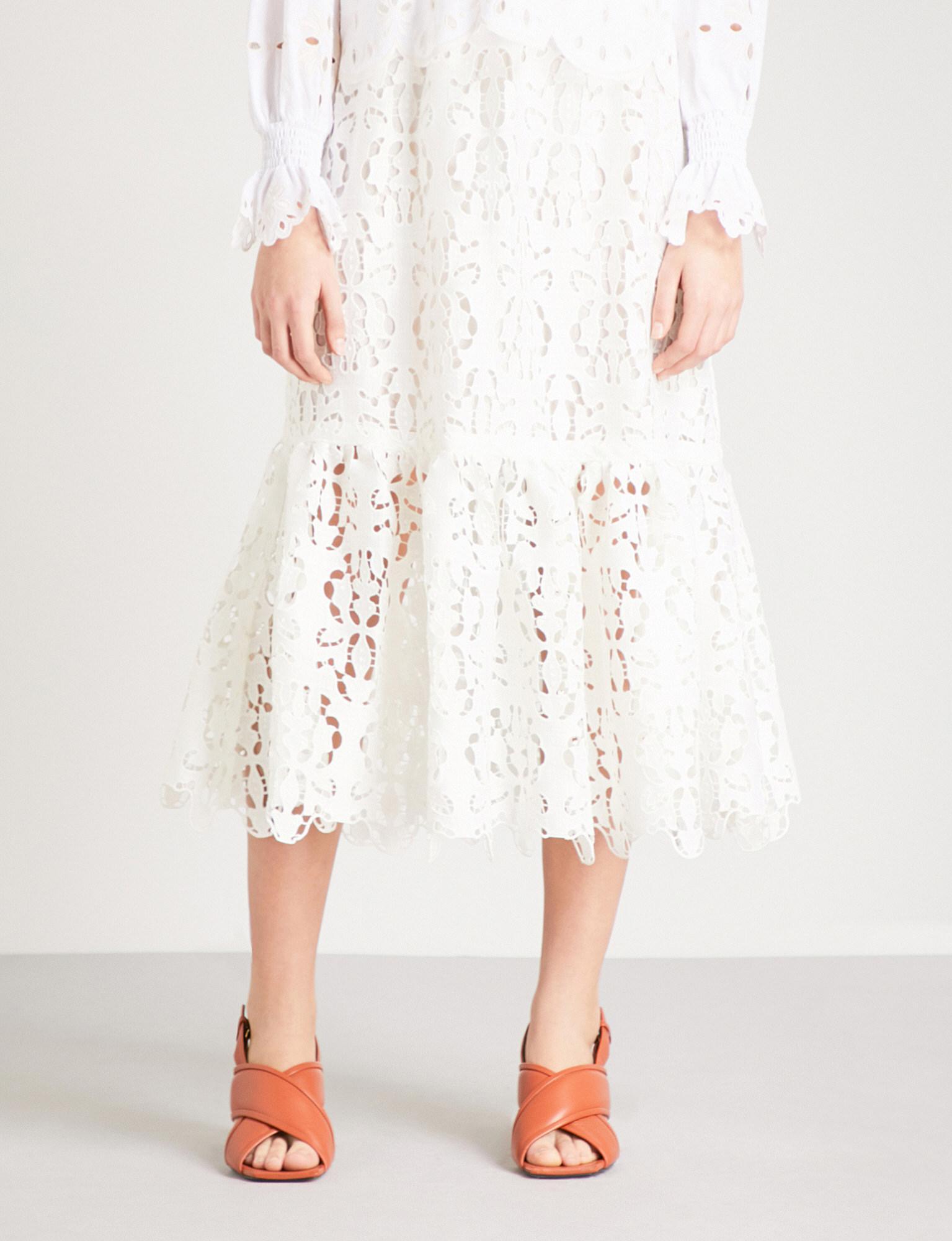 4e46a750 White High Waisted Skirt Lace - raveitsafe