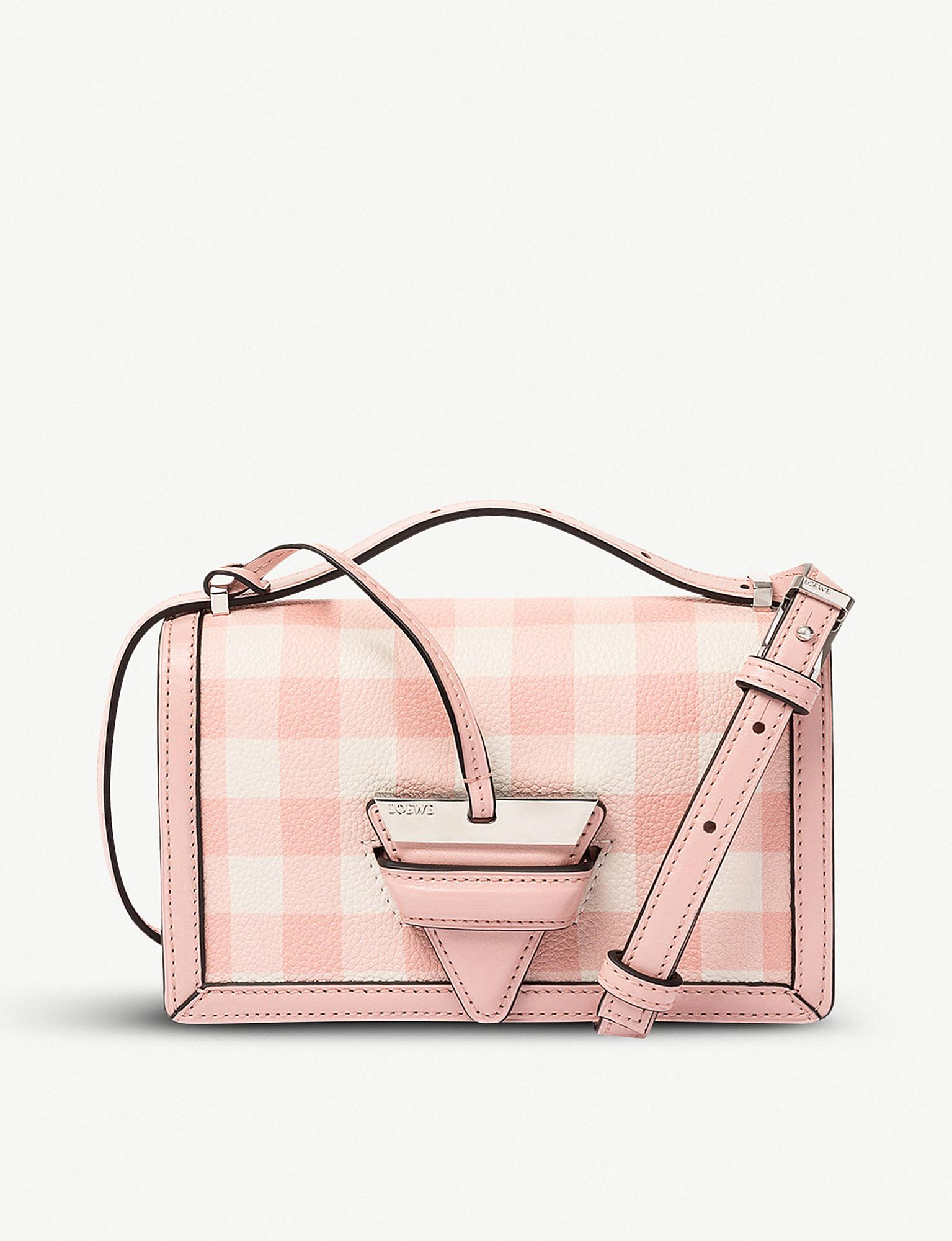 Barcelona Gingham Small Bag in Salmon Soft Grained Calf and Calf Loewe How Much For Sale KOlvk