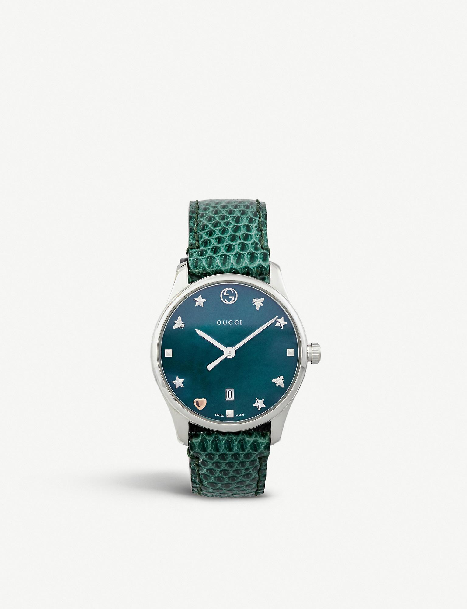 829e9ee062d Gucci - Green Ya126584 G-timeless Mother-of-pearl And Lizard-leather. View  fullscreen