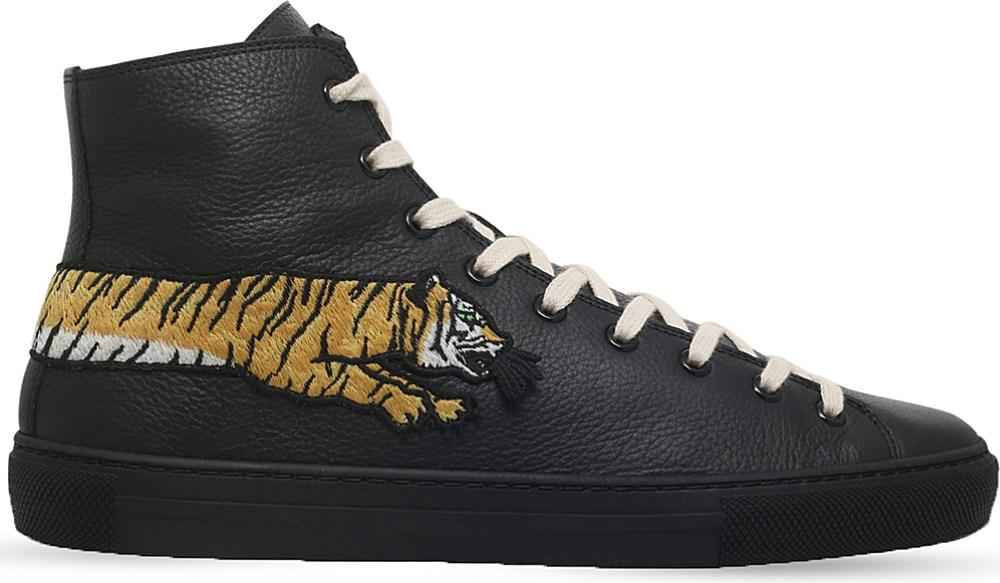 aaf8c1e5db9 Lyst - Gucci Major Tiger Leather High-top Trainers in Black for Men