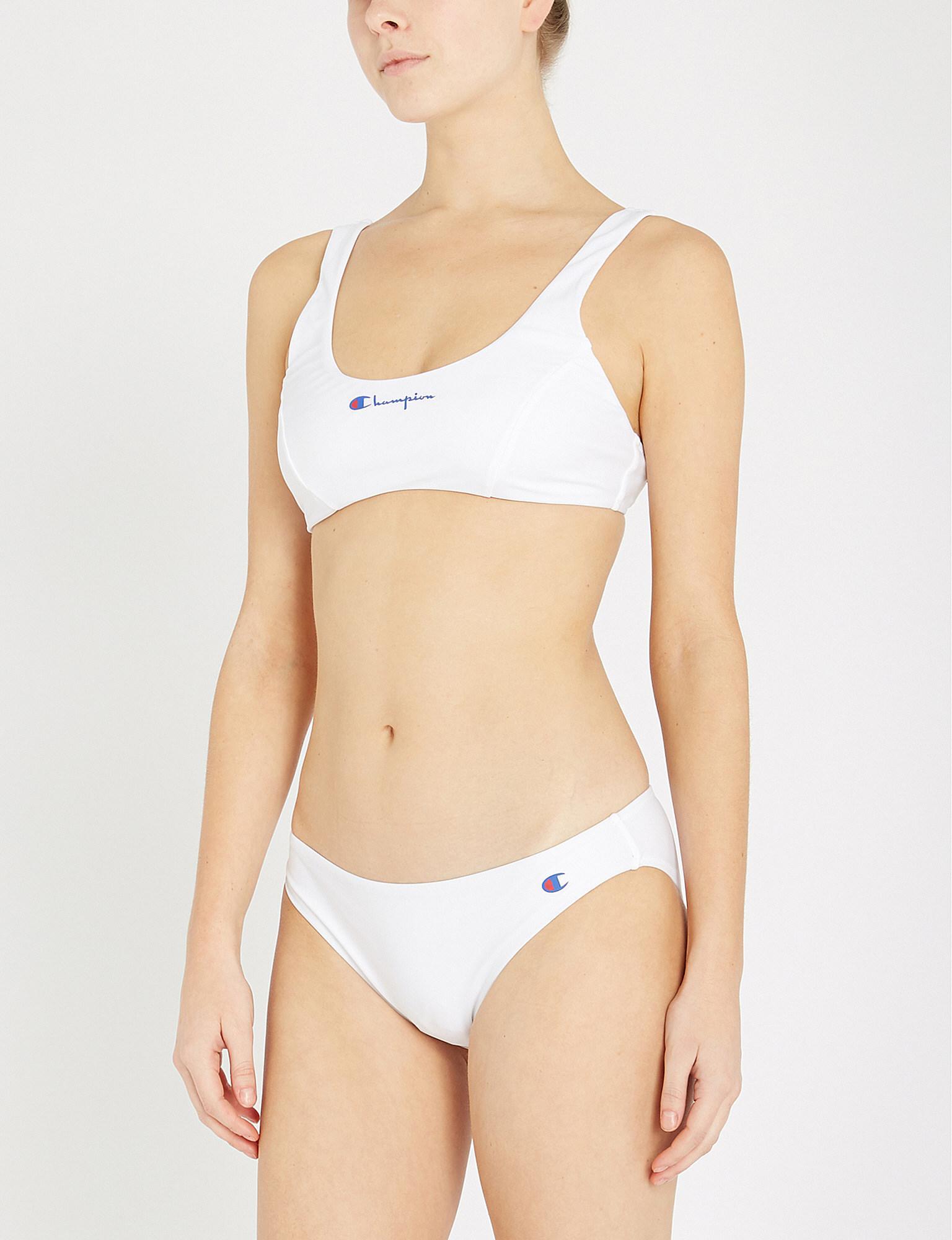 c32dfb8681 Champion - White Logo-print Bikini Top - Lyst. View fullscreen