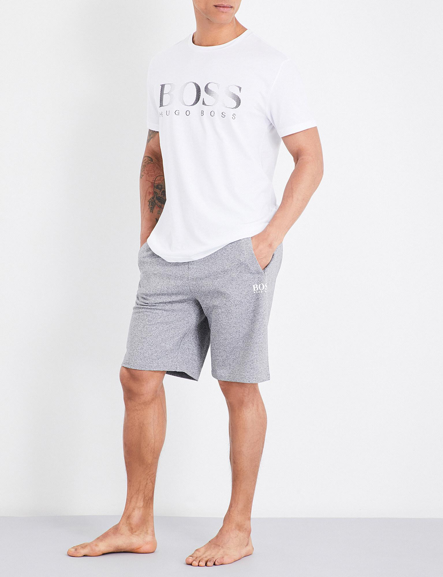 d0fa3bcca BOSS Heritage Logo Cotton-jersey Shorts in Gray for Men - Lyst