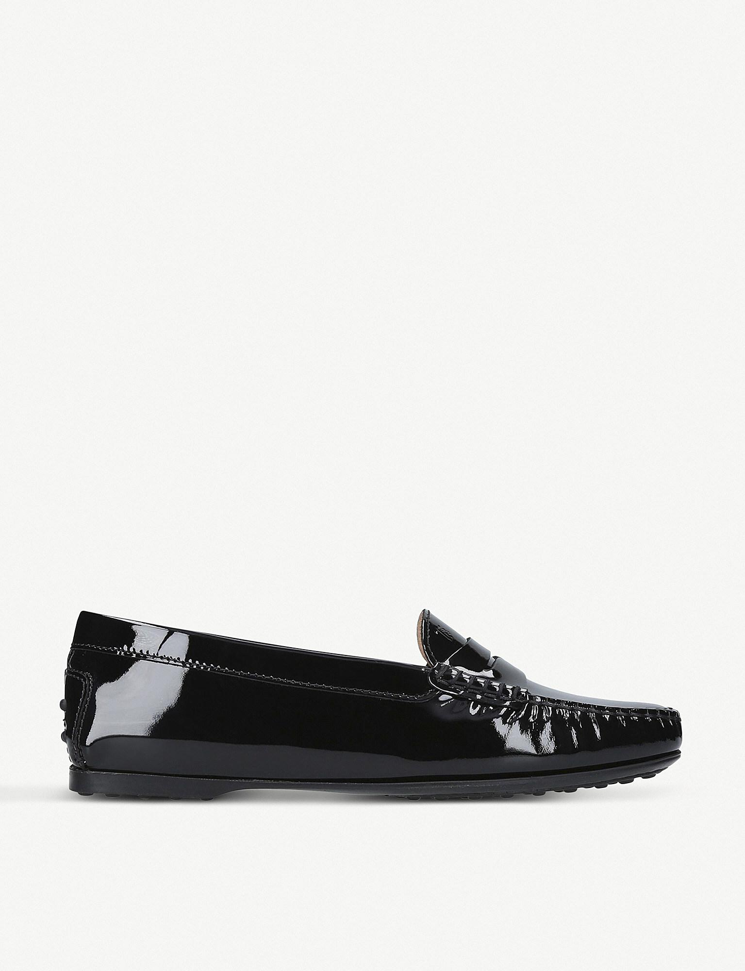 Black TODS Gomma patent leather moccasins
