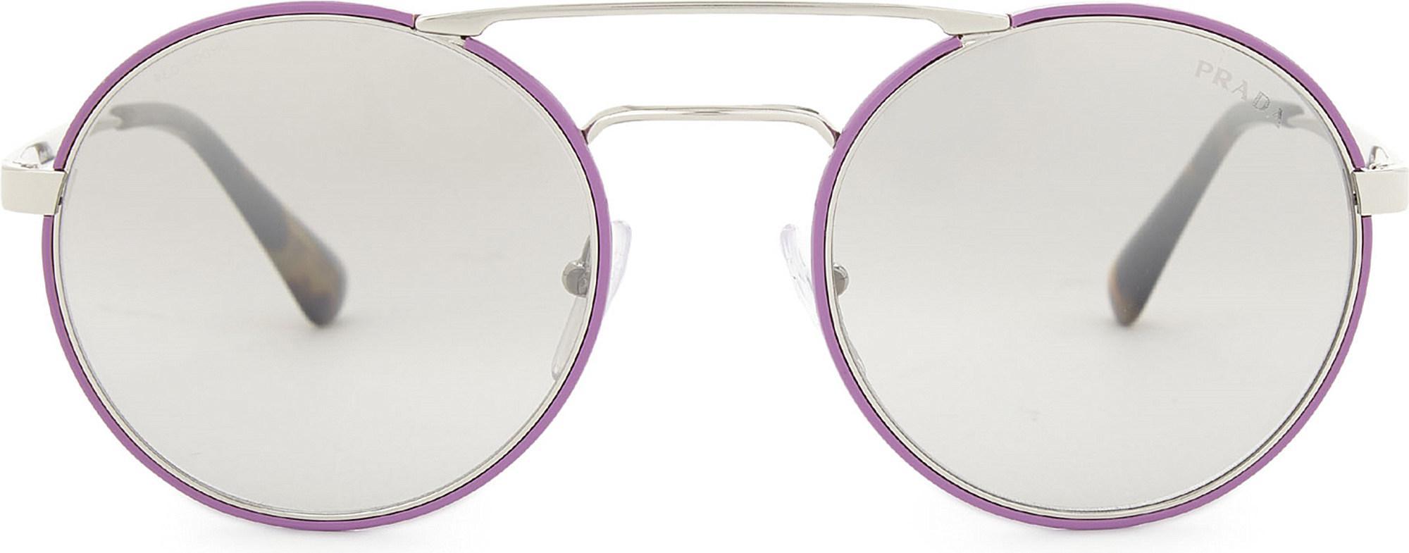 6c3b27c981 ... discount lyst prada pr51ss round frame sunglasses in metallic dd871  654d0