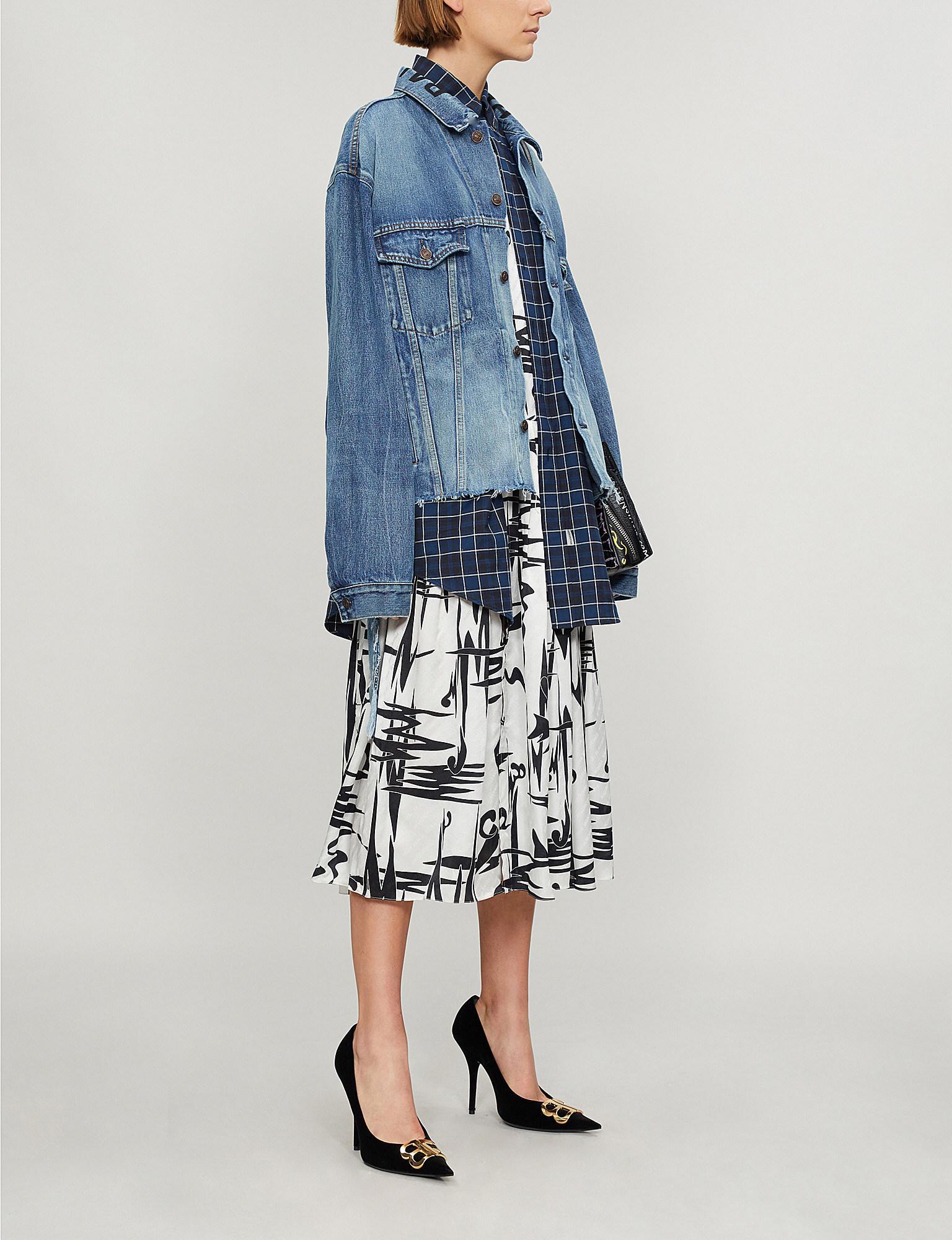 4984ec230350c4 Balenciaga Distressed Oversized Denim Jacket in Blue - Lyst