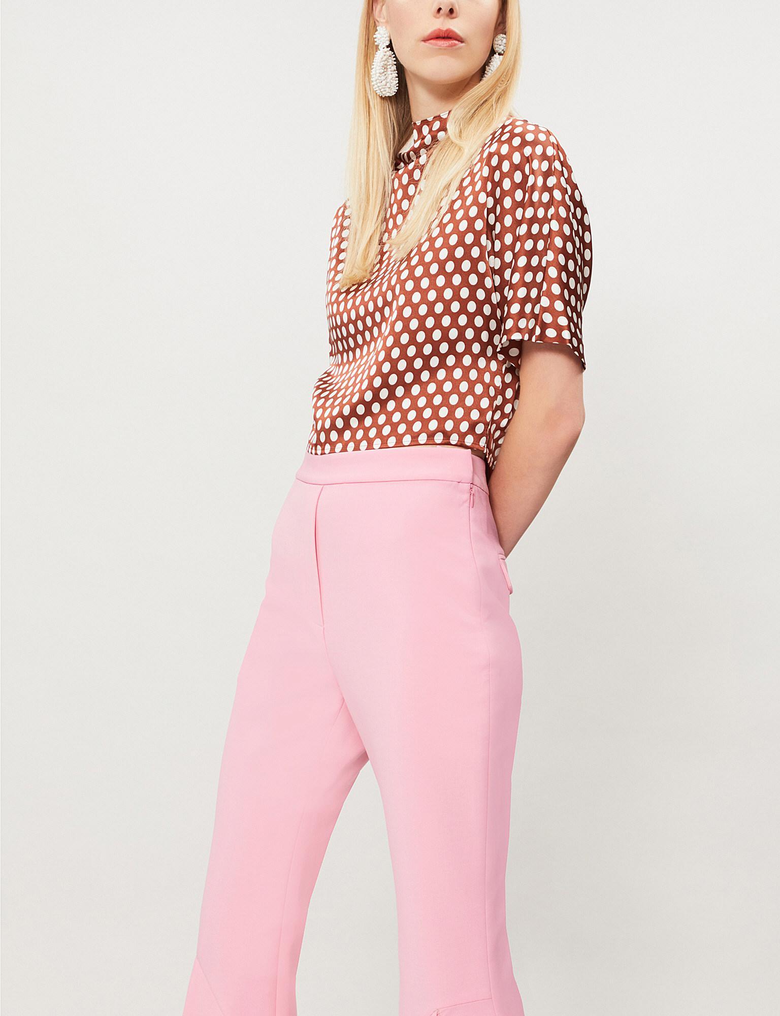 e9b0cc42ec0821 Lyst - Diane von Furstenberg Polka Dot Silk-satin Top in Pink