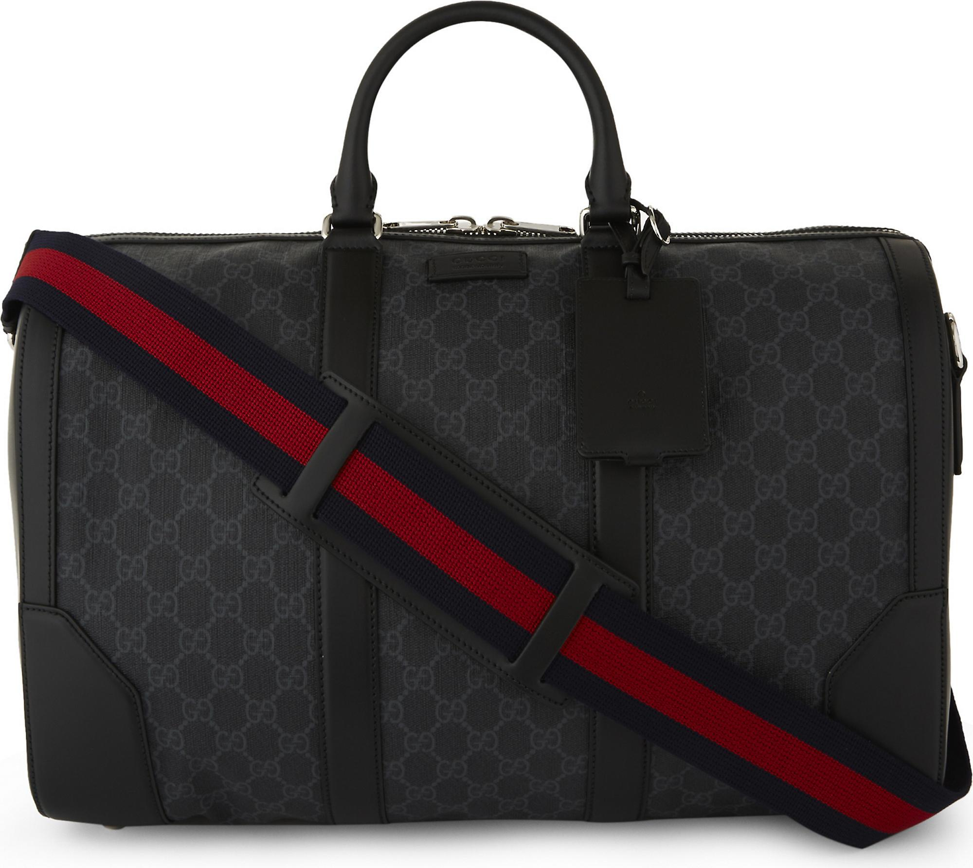 f9638859453 Lyst - Gucci Supreme Canvas And Leather Duffle Bag in Black for Men