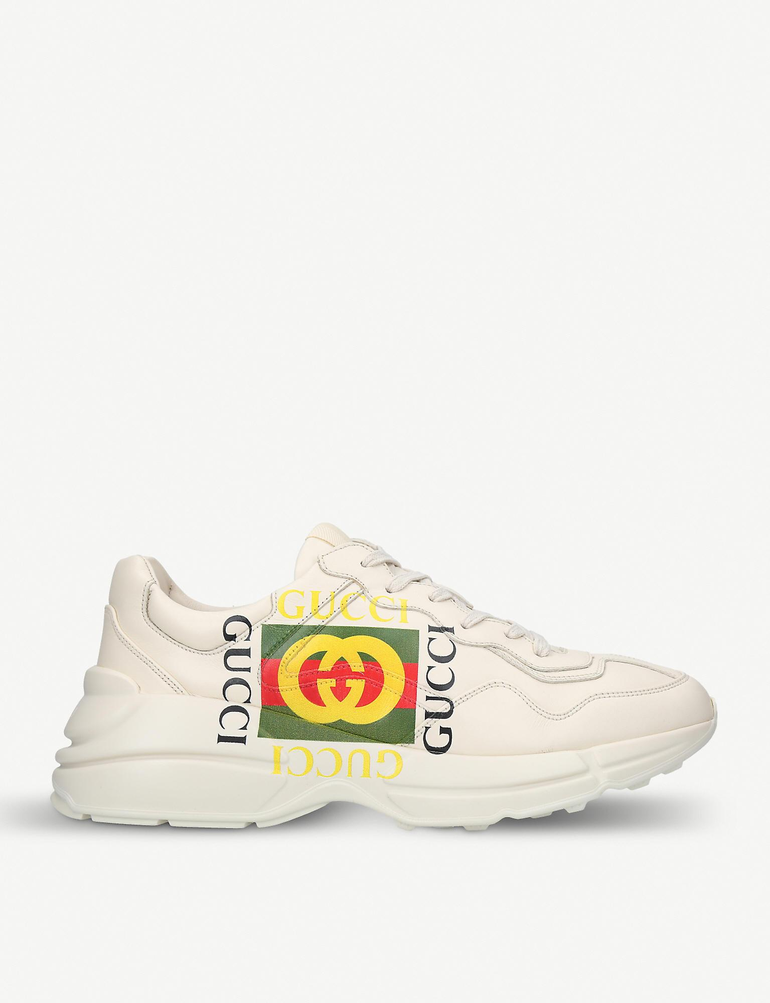ed341d08c Gucci - White Mens Rhyton GG Leather Running Trainers for Men - Lyst. View  fullscreen