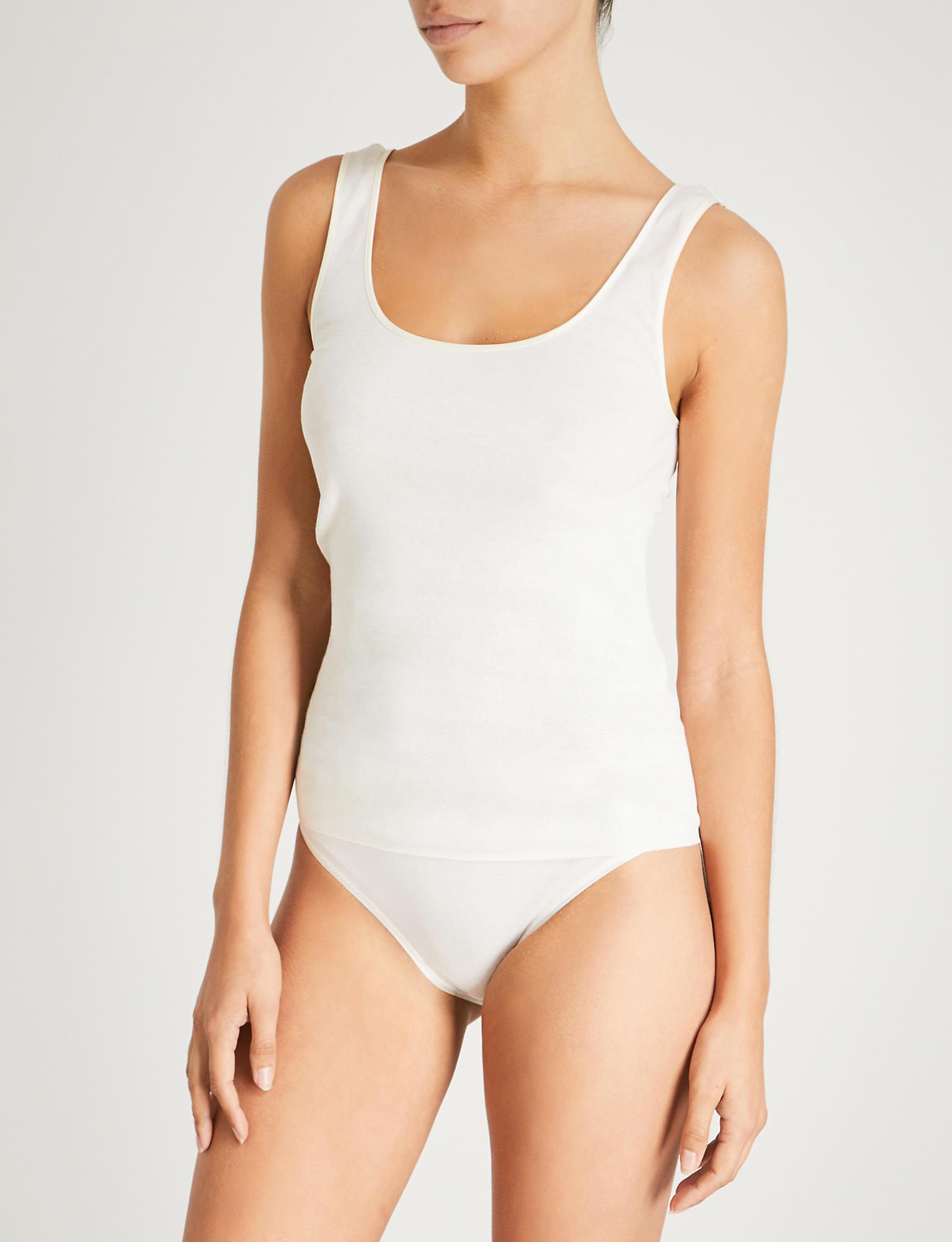 997c2678bd Hanro Seamless Cotton Vest Top in White - Lyst