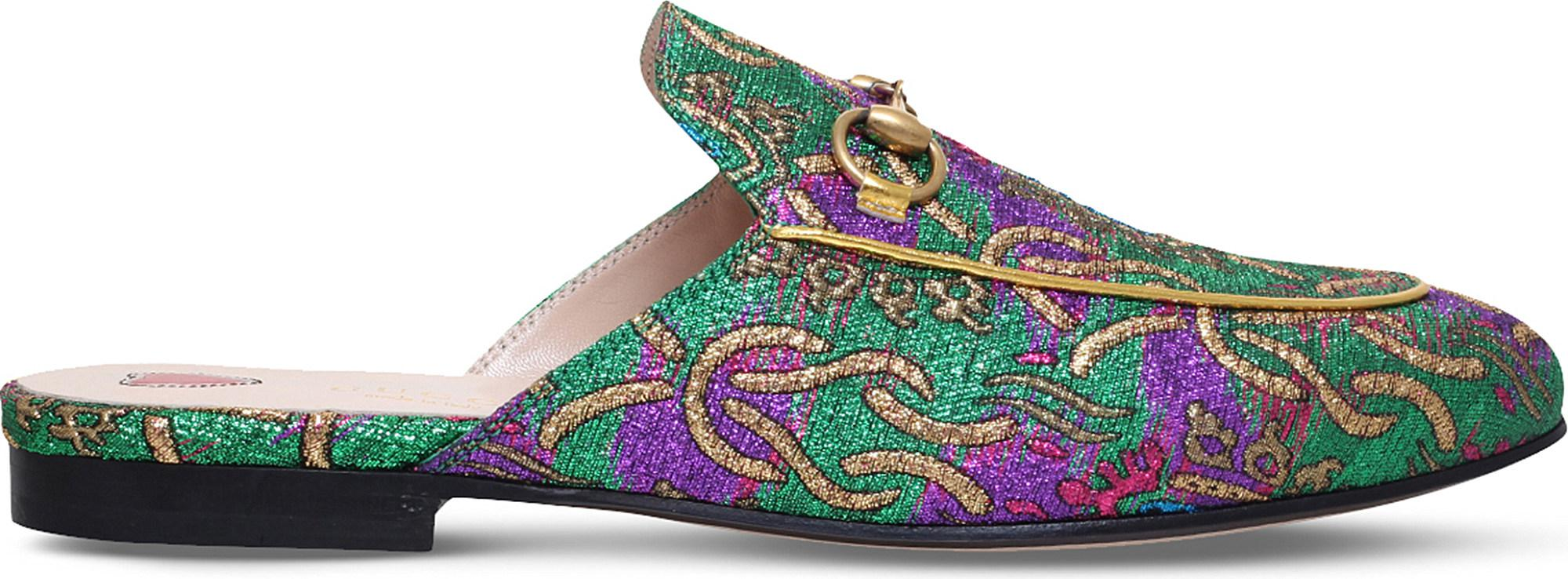 200dc5cf405 Lyst - Gucci Princetown Chinoiserie Jacquard Slippers in Green