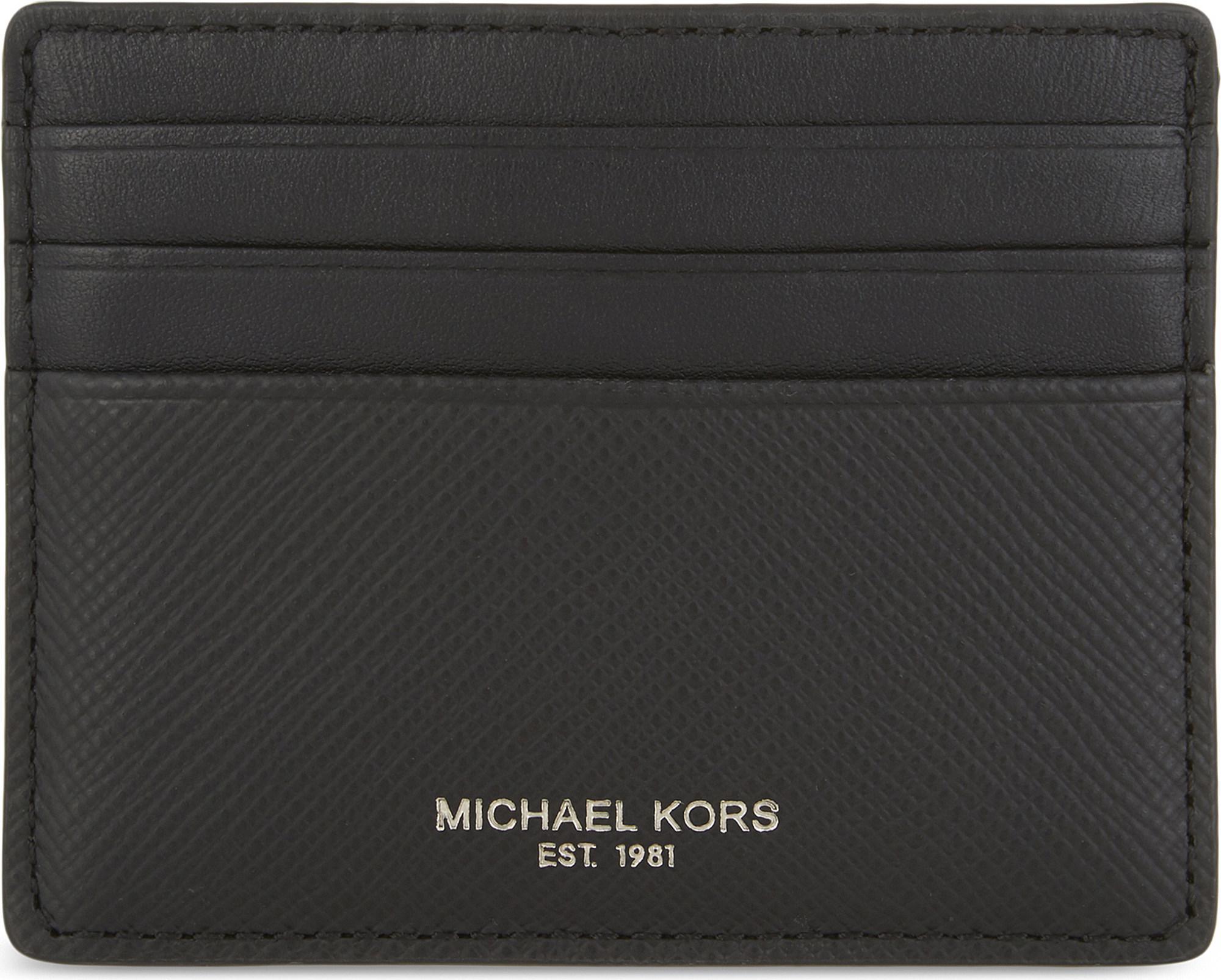 ed5b0ed86b5d Lyst - Michael Kors Harrison Leather Card Holder in Black for Men