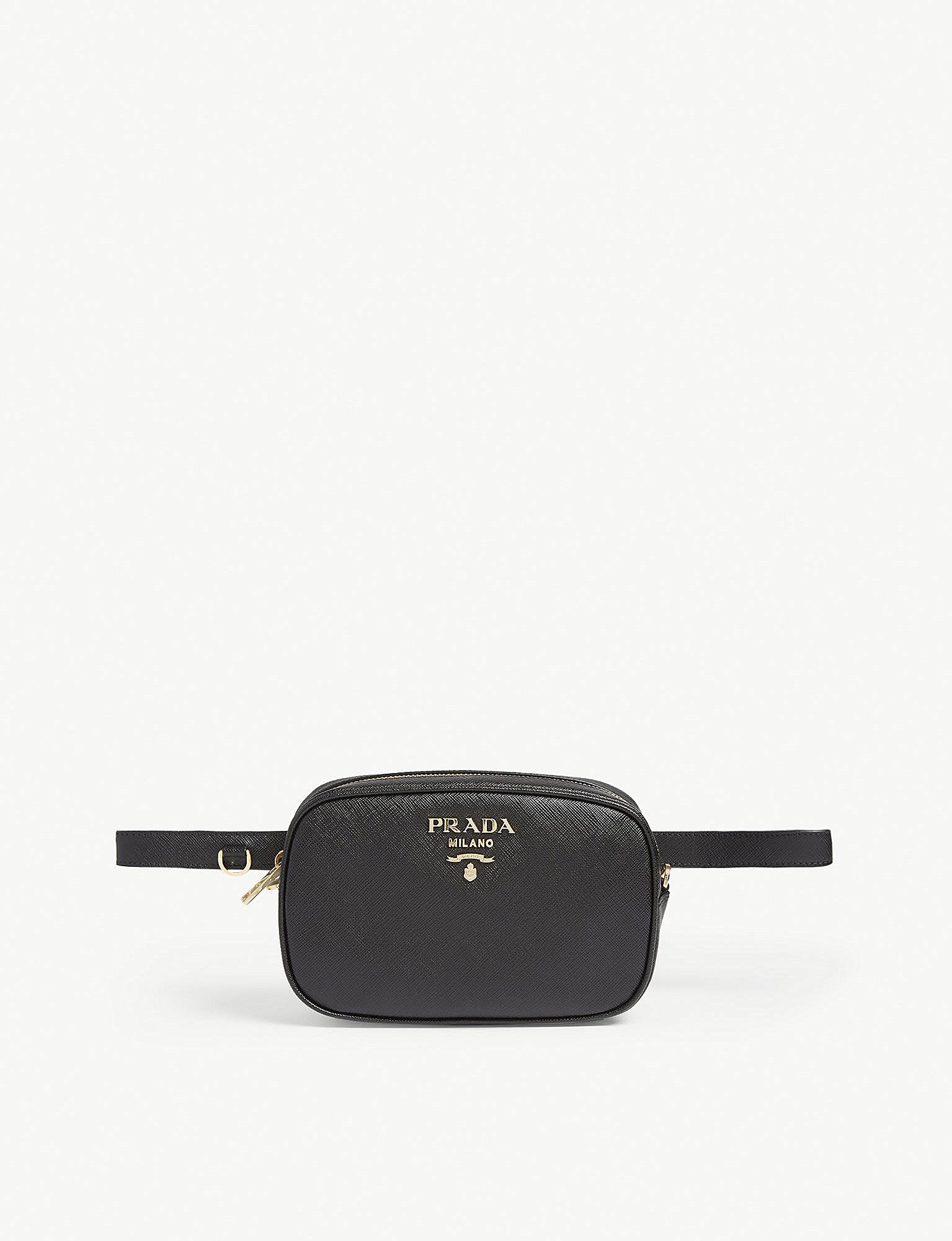 Lyst - Prada Core Saffiano Leather Bumbag in Black 5384d3daef775