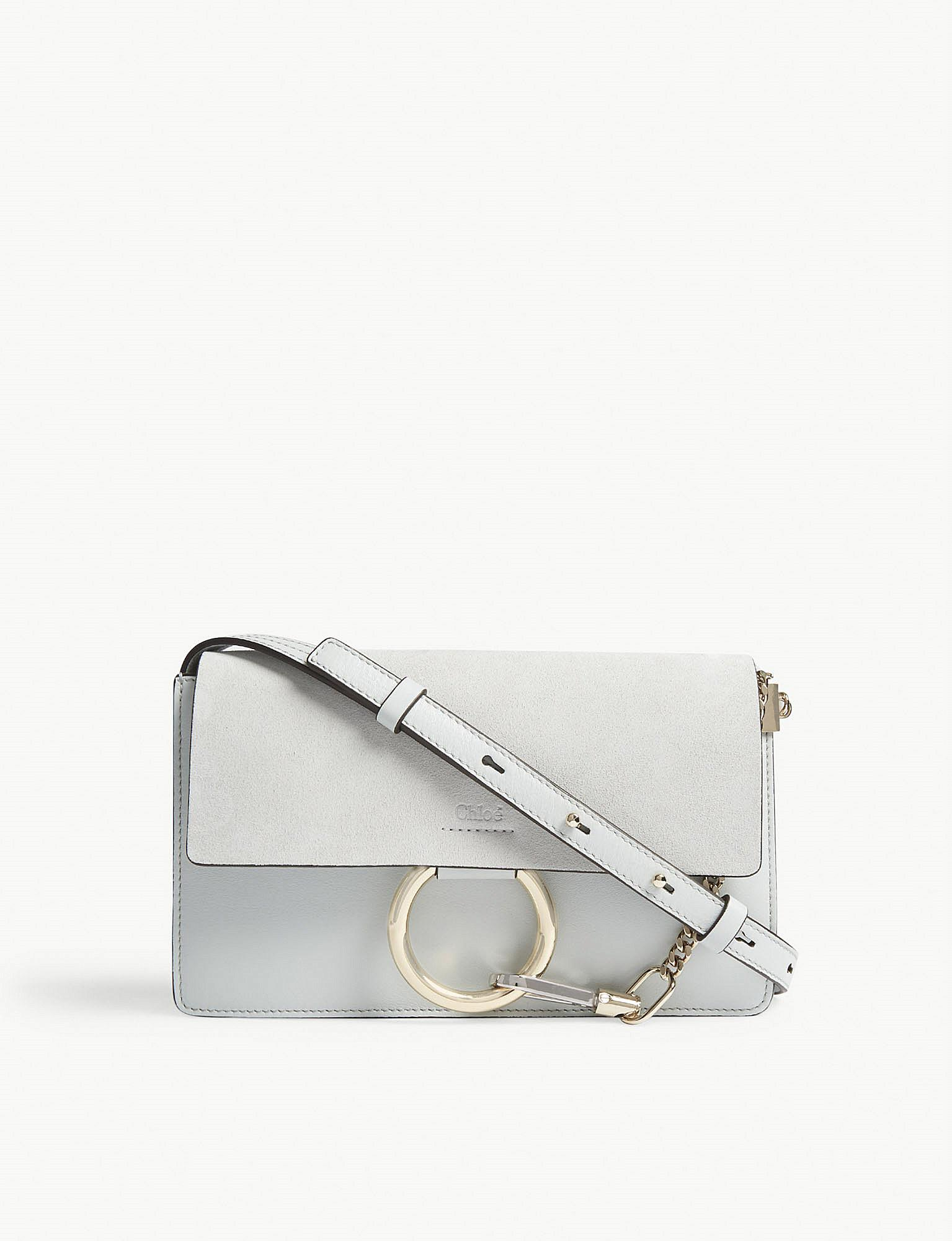 Chloé Faye Small Leather And Suede Cross-body Bag in Gray - Lyst 6ee8c7adc