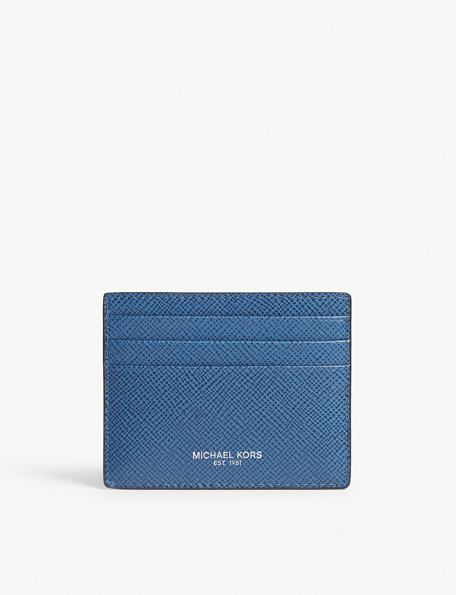 8f06161986b4 Michael Kors Harrison Leather Card Holder in Blue - Lyst