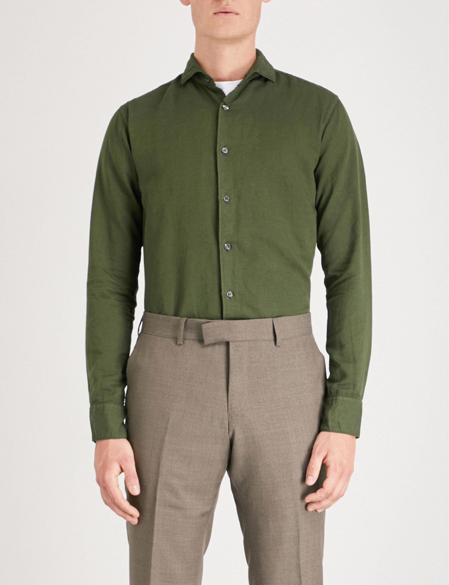 fb2bb64222a8 Tiger Of Sweden Farel Slim-fit Cotton And Linen-blend Shirt in Green ...
