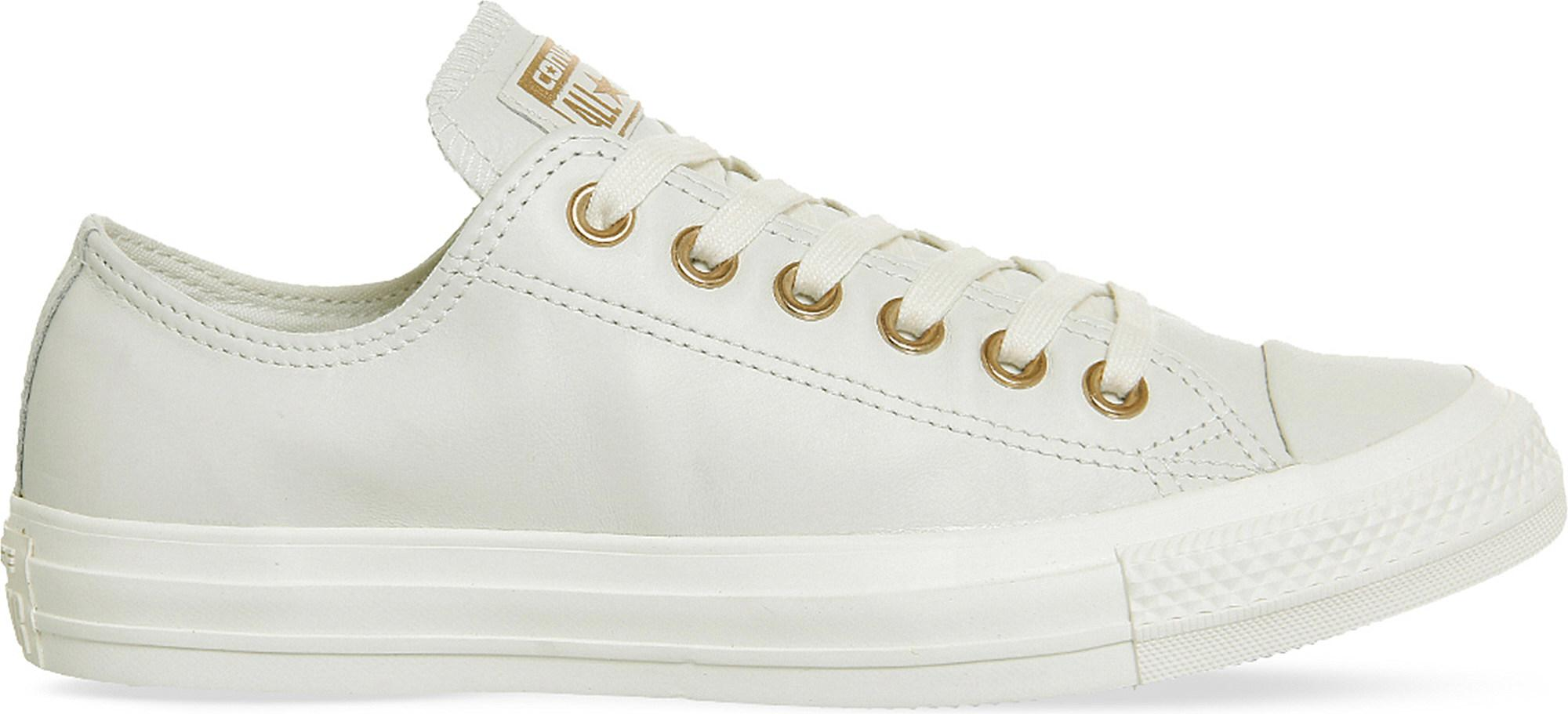 Lyst - Converse All Star Low-top Leather Trainers in White ee5f80813b9