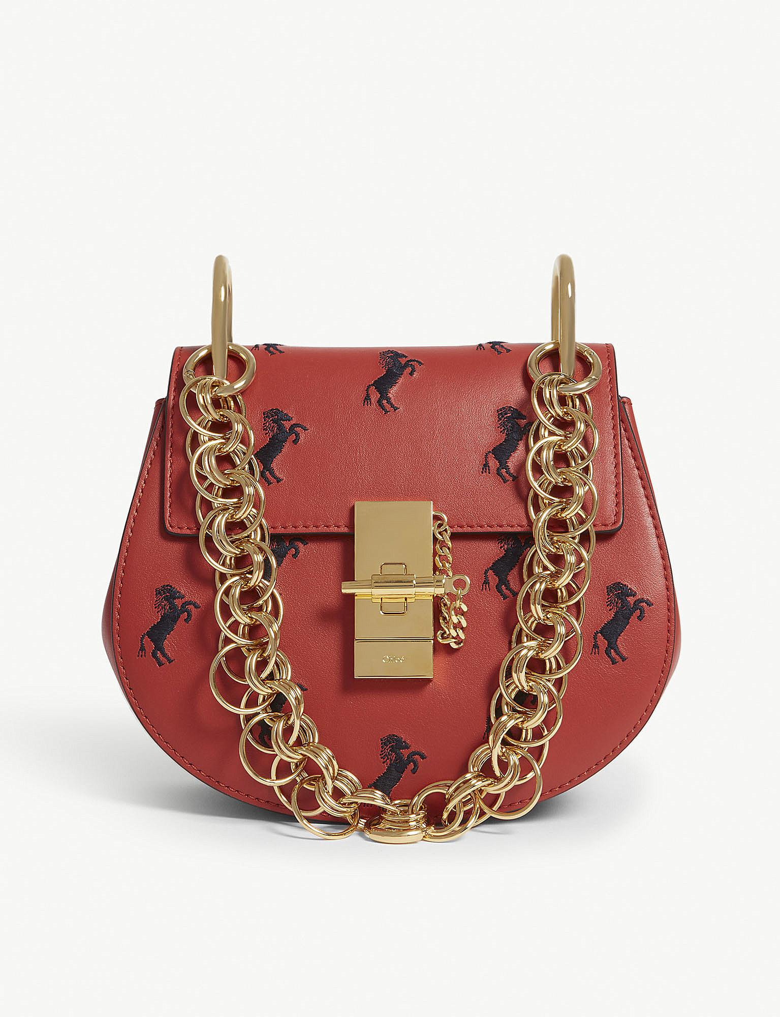 3b9b56054fdb Chloé Earthy Red Heart Embroidered Drew Bijou Leather Bag in Red - Lyst