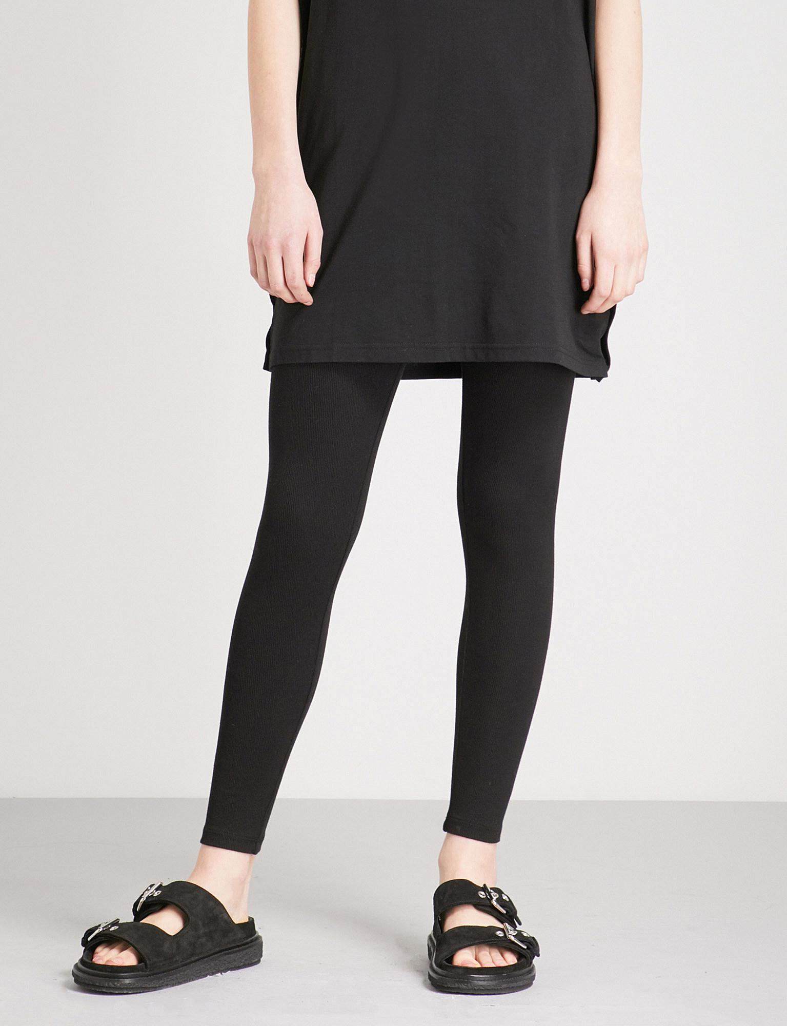7e7aec0a9e2dae Lyst - James Perse Ribbed Knitted Leggings in Black