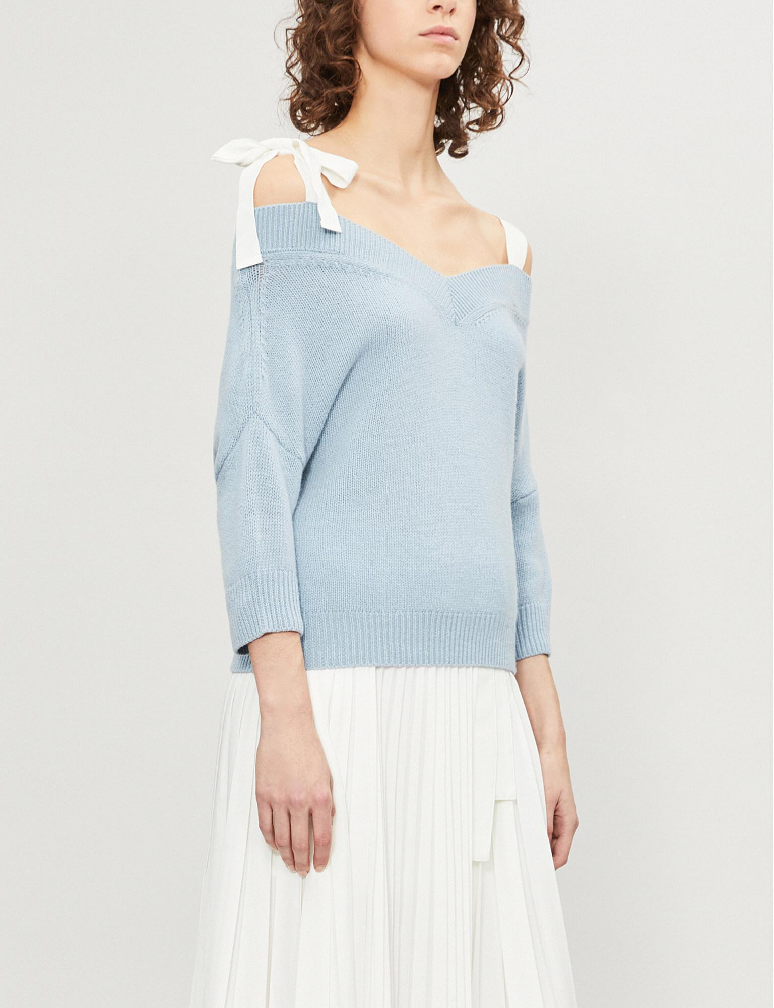 6b65523157 Red Valentino Off-the-shoulder Wool Jumper in Blue - Lyst