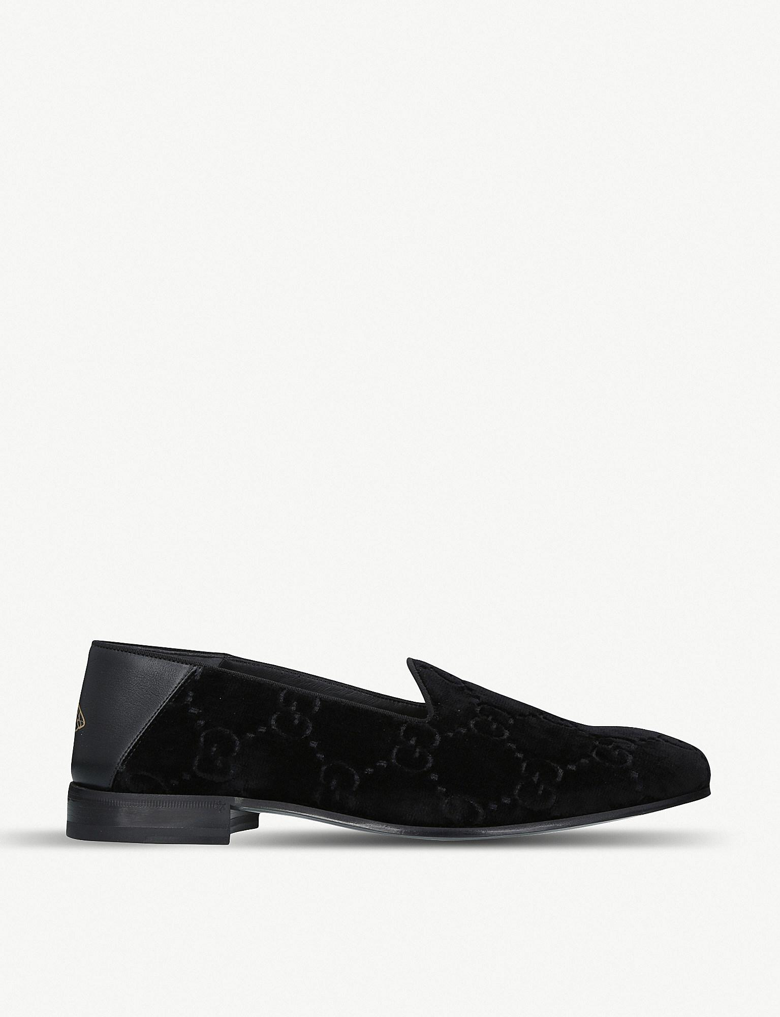 fbc527d7181 Lyst - Gucci Gg Velvet Loafers in Black