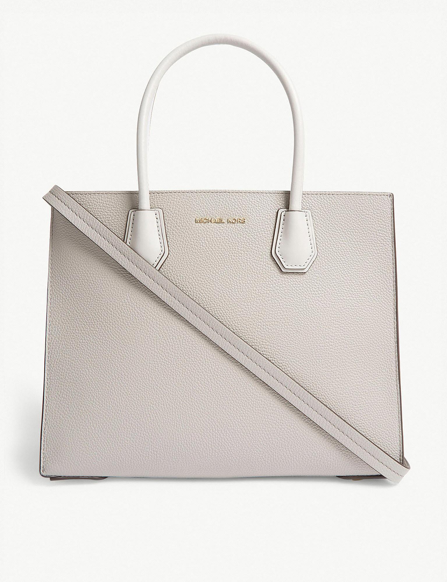 73e6923bcdc657 MICHAEL Michael Kors. Women's Gray Michael Kors Pearl Grey Mercer Accordion  Leather Tote Bag