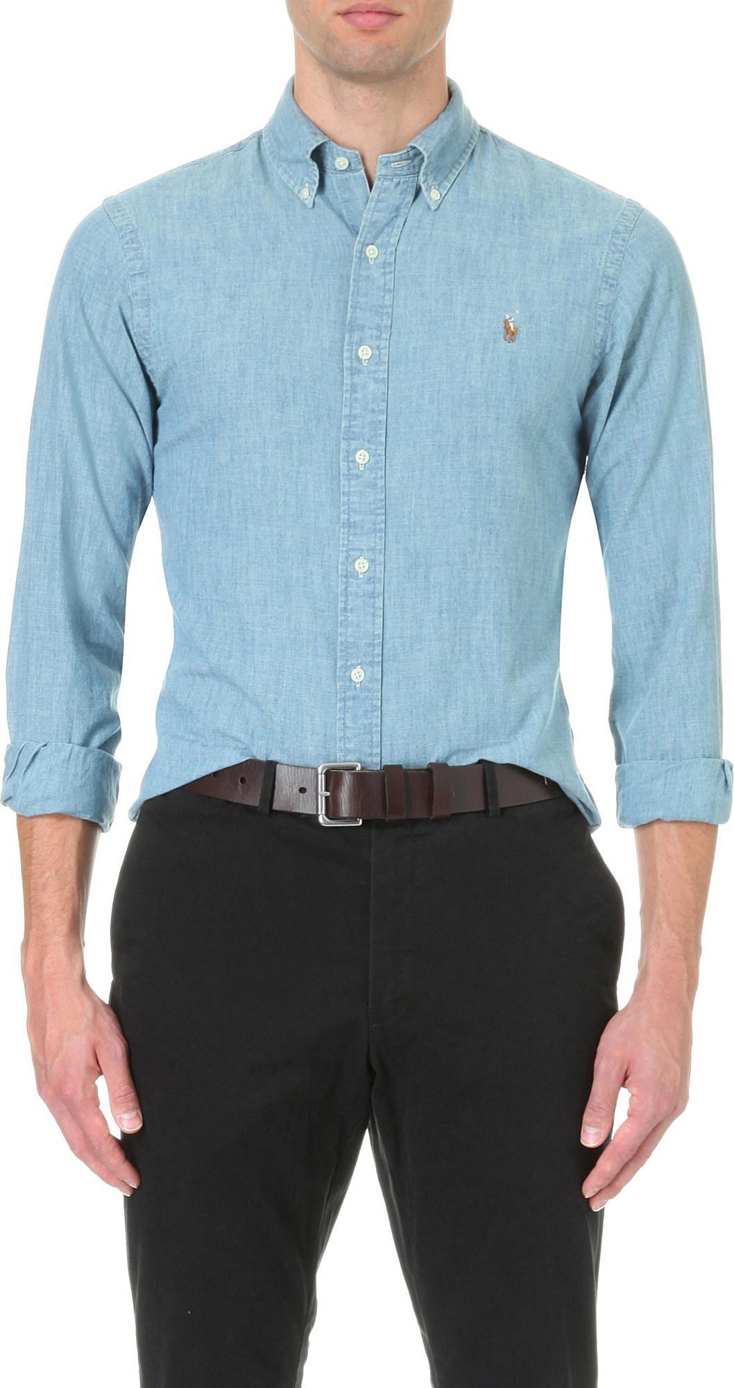 9dd2035aed Lyst - Polo Ralph Lauren Slim-fit Single-cuff Denim Shirt in Blue ...