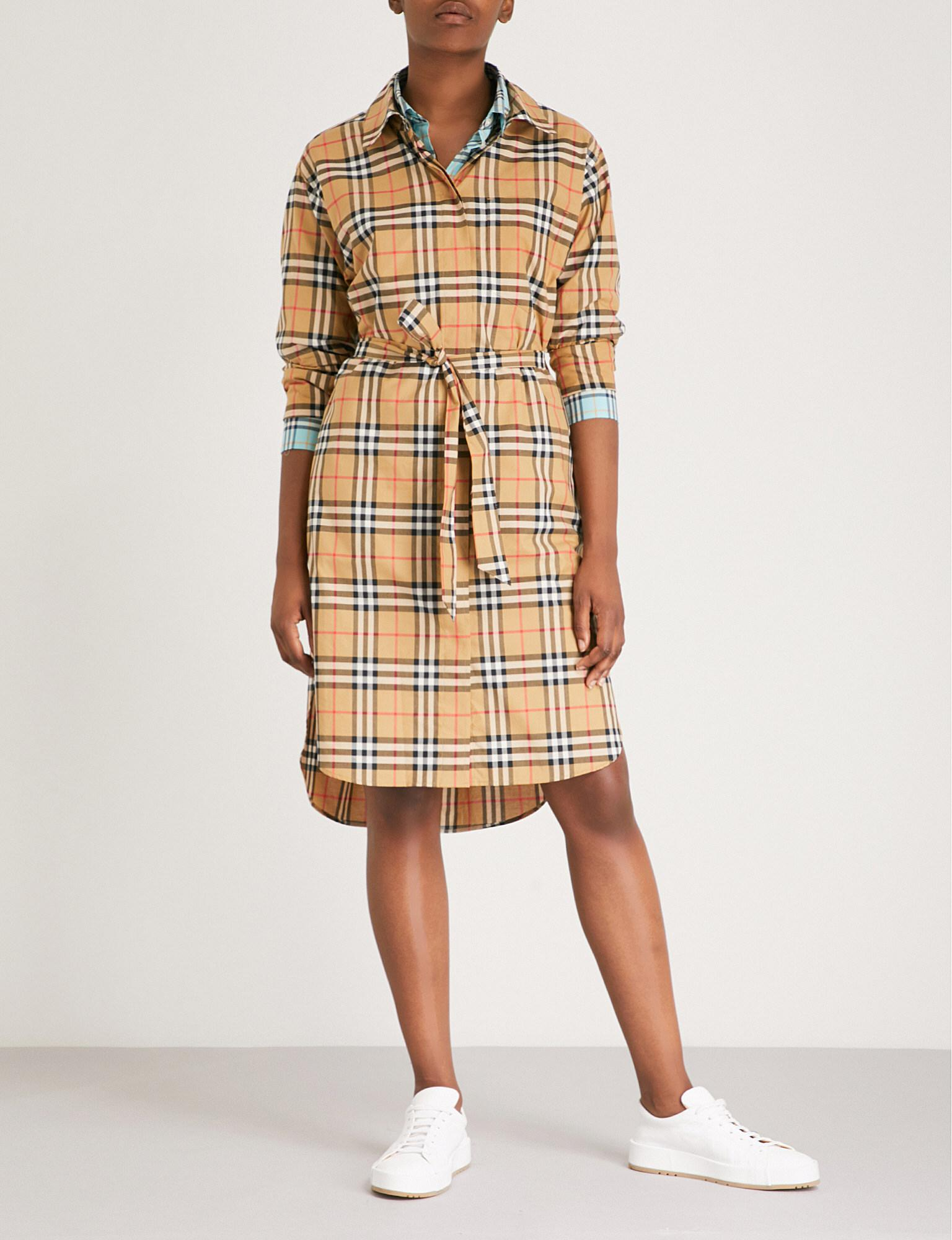 16015a456702 Burberry. Women s Isotto Checked Cotton Shirt Dress