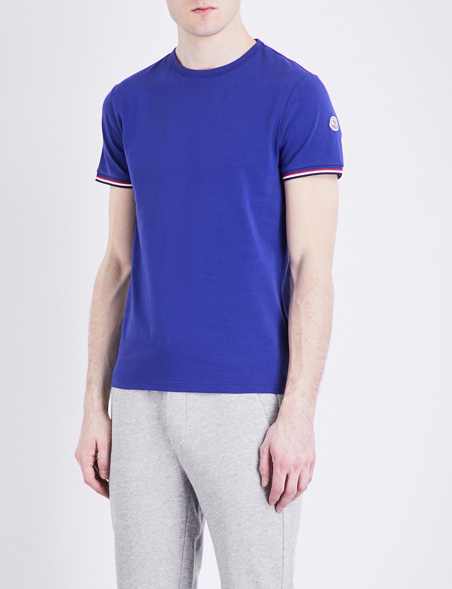 d44d6af7e Moncler Stripe-trim Stretch-cotton T-shirt in Blue for Men - Lyst